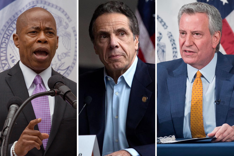 Democratic mayoral nominee Eric Adams, Gov. Andrew Cuomo, Mayor Bill de Blasio