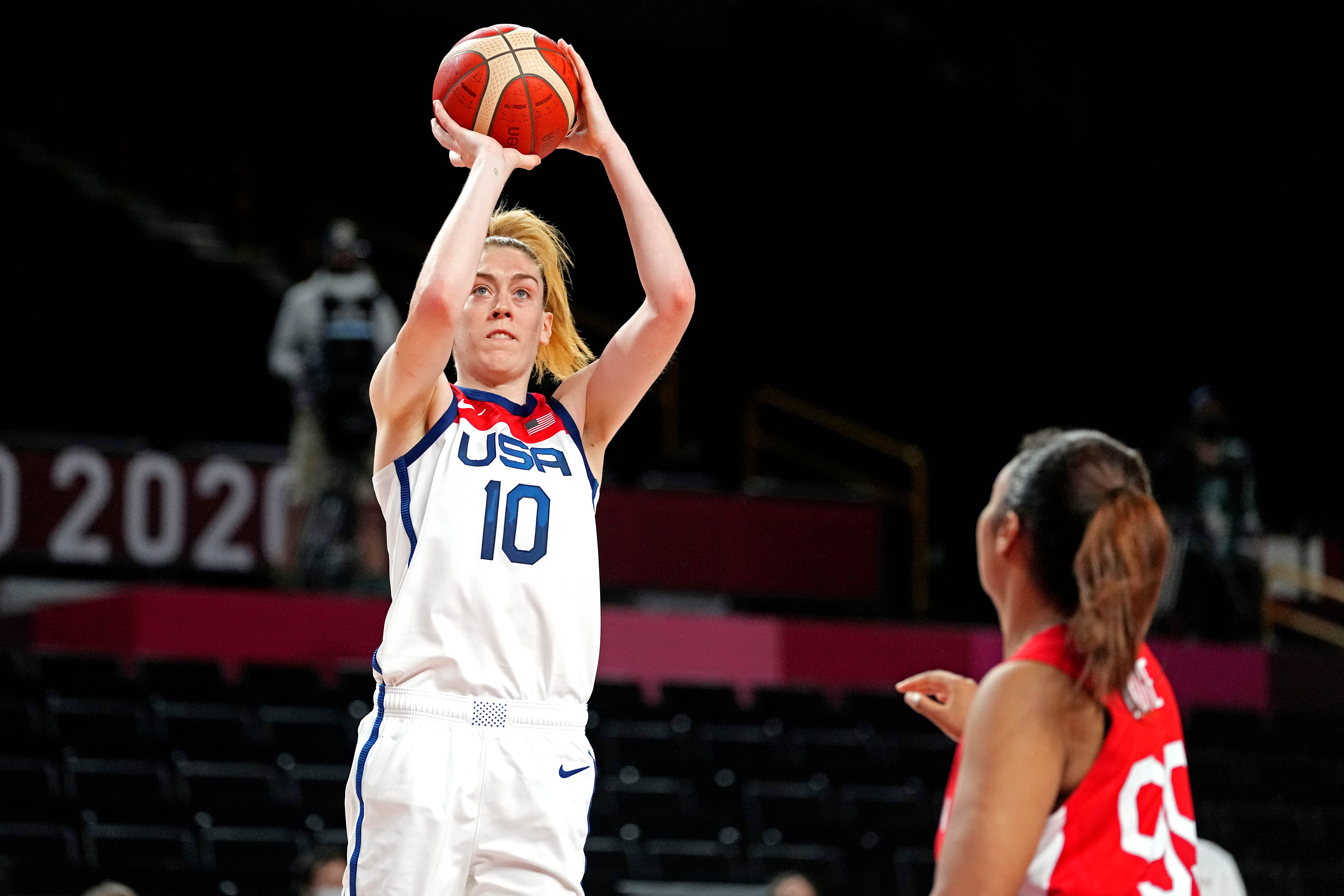 United States forward Breanna Stewart shoots the ball against Japan power forward Monica Okoye in women's basketball Group B play during the Tokyo 2020 Olympic Summer Games at Saitama Super Arena.