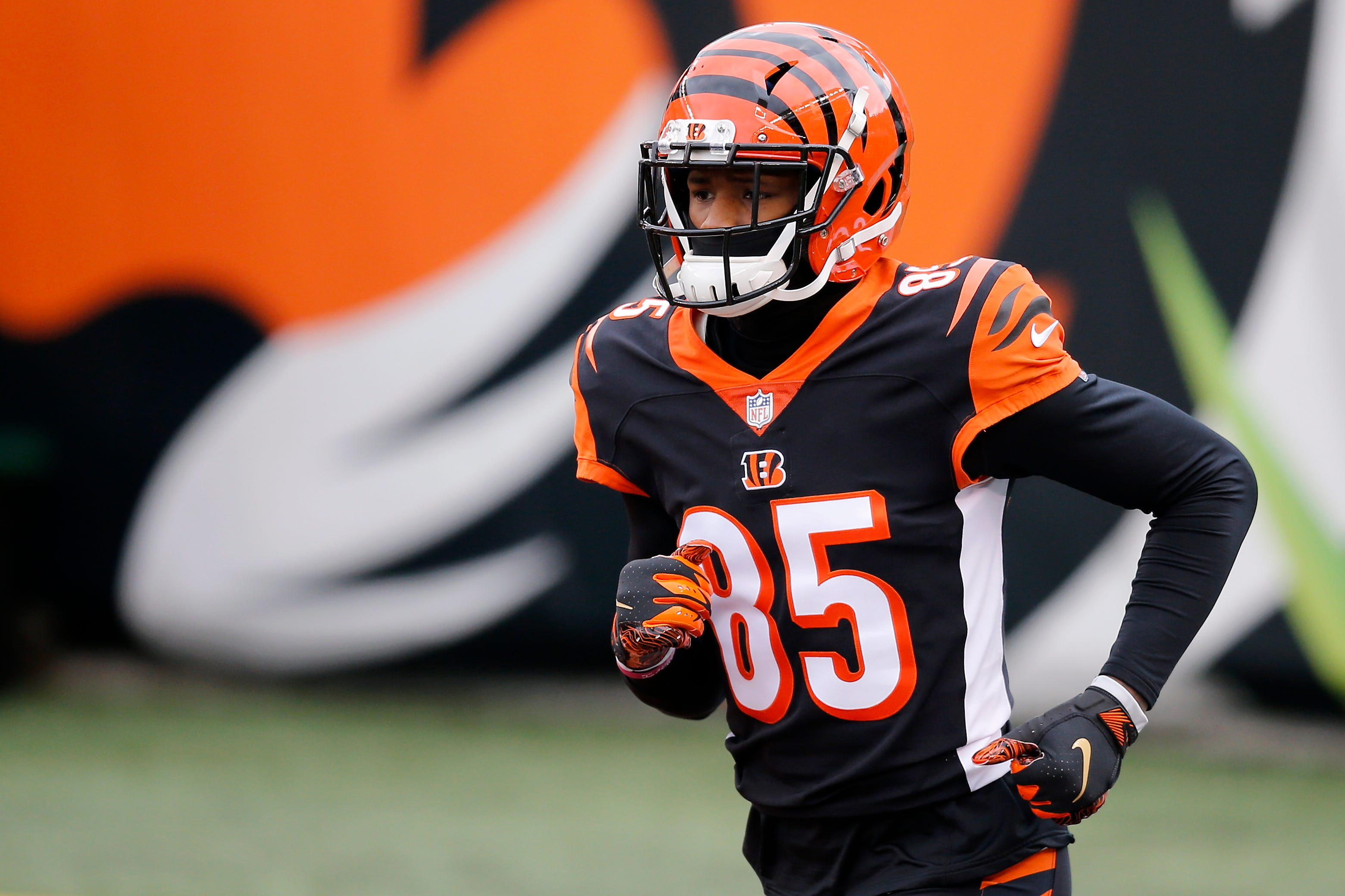 Cincinnati Bengals wide receiver Tee Higgins (85) takes the field as he's introduced before the first quarter of the NFL Week 17 game between the Cincinnati Bengals and the Baltimore Ravens at Paul Brown Stadium in downtown Cincinnati on Sunday, Jan. 3, 2021. The Ravens led 17-3 at half time. Baltimore Ravens At Cincinnati Bengals