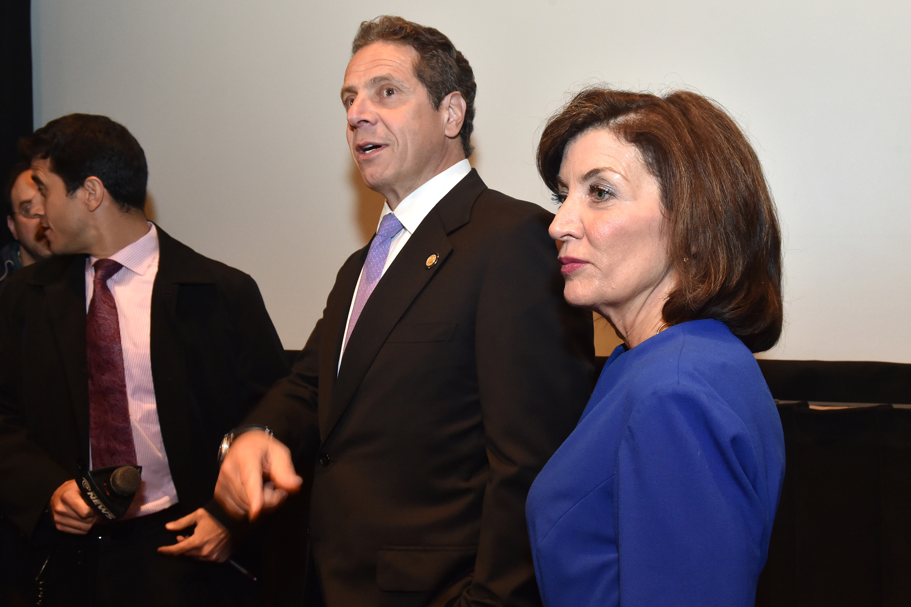 """Then-Gov. Andrew Cuomo and Lt. Gov. Kathy Hochul attend a screening at Lincoln Center of """"The Hunting Ground"""" a new documentary highlighting sexual violence at colleges and universities nationwide. June 2, 2015"""