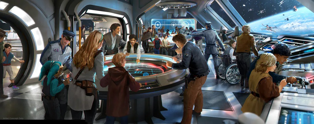 a mock up of the bridge of Disney's galactic starcruiser, a sci-fi area full of guests