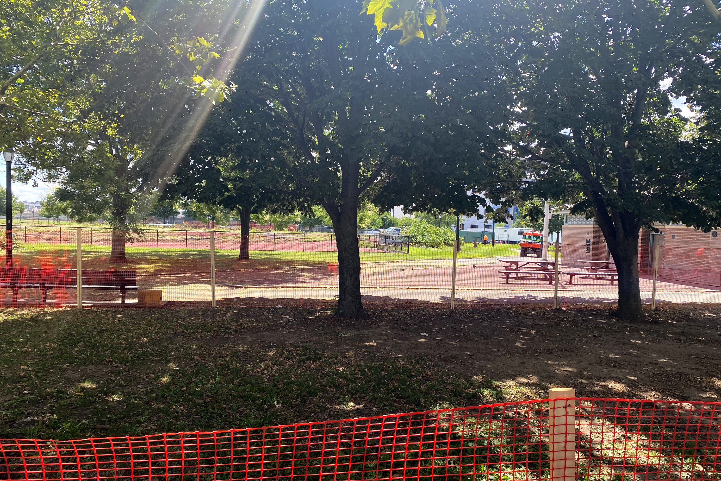 Barriers blocking Red Hood residents from recreation.