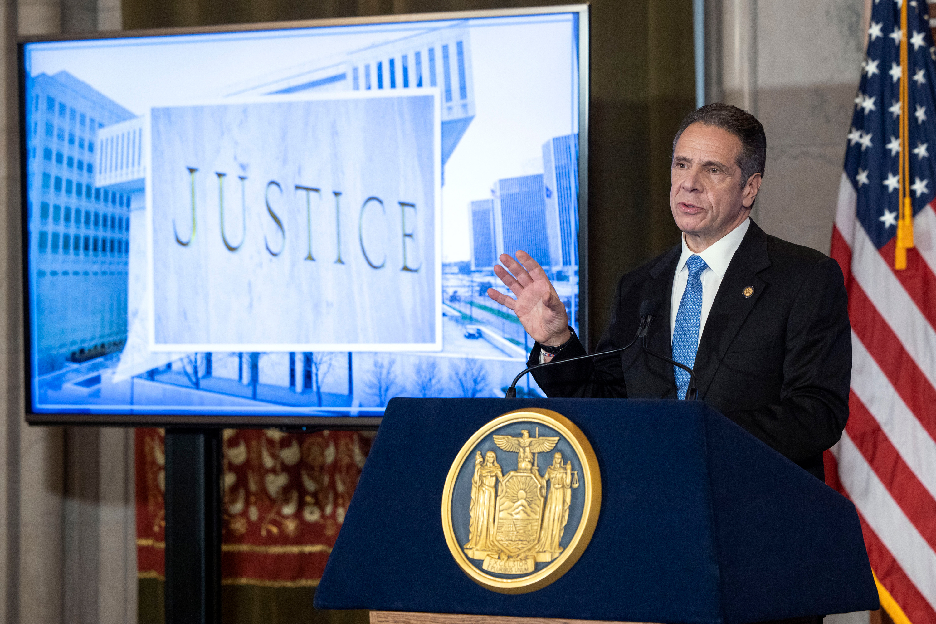 Governor Andrew Cuomo delivers his state budget in Albany, Jan. 19, 2021.