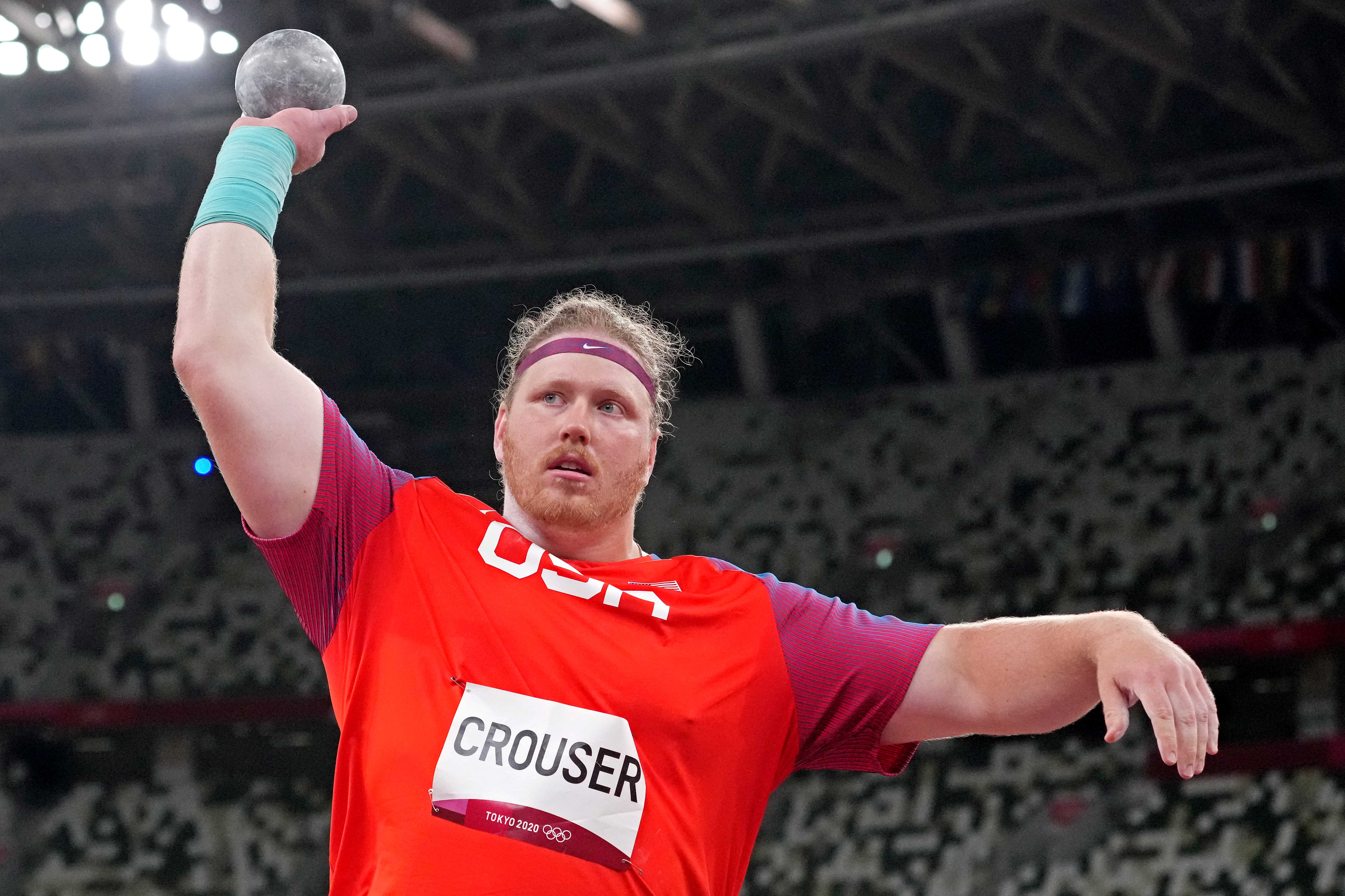 Ryan Crouser (USA) in the men's shot put qualifications during the Tokyo 2020 Olympic Summer Games at Olympic Stadium.