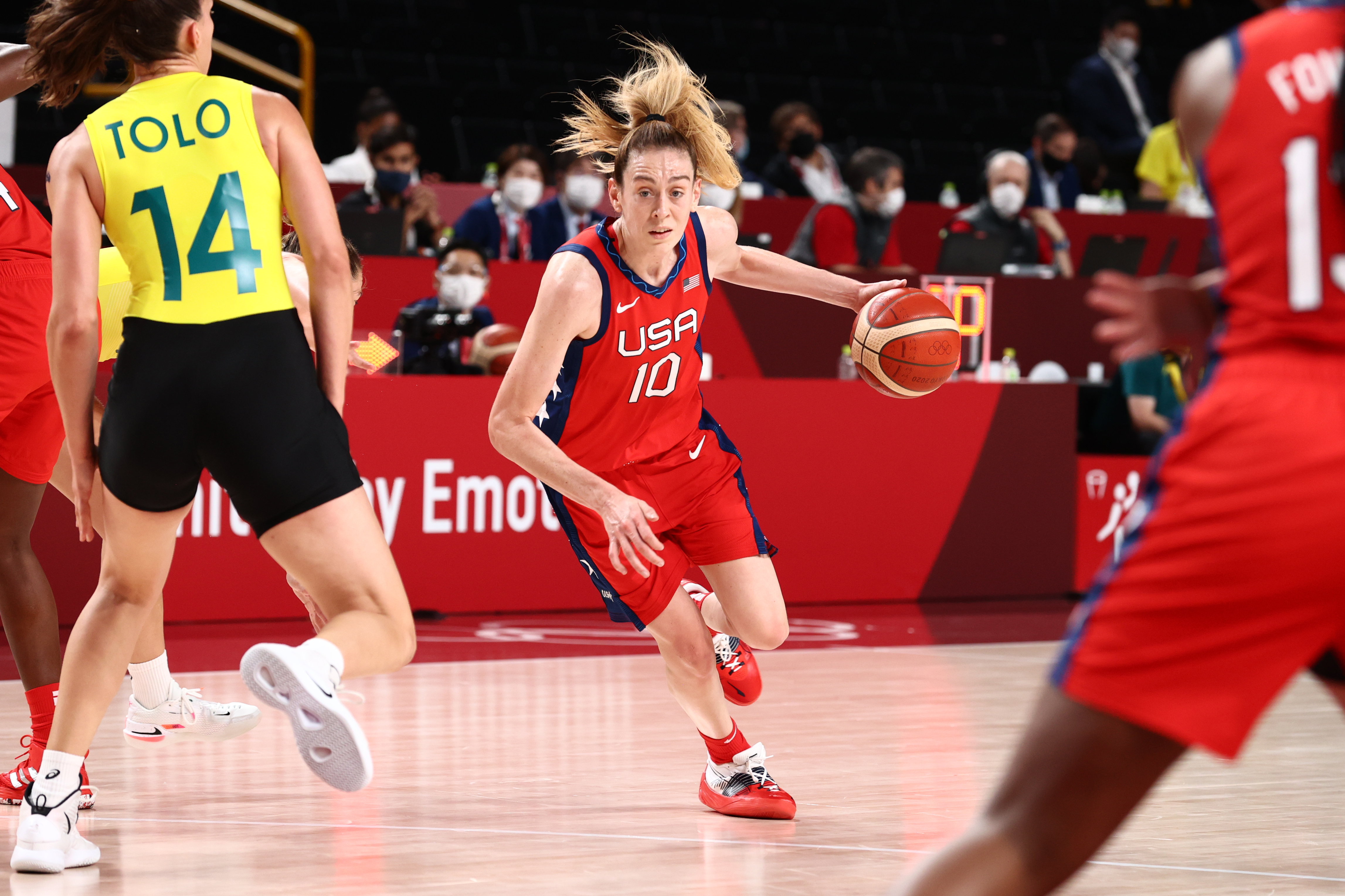 Breanna Stewart #10 of the USA Women's National Team dribbles the ball during the game against the Australia Women's National Team during the 2020 Tokyo Olympics on August 4, 2021 at the Super Saitama Arena in Tokyo, Japan.