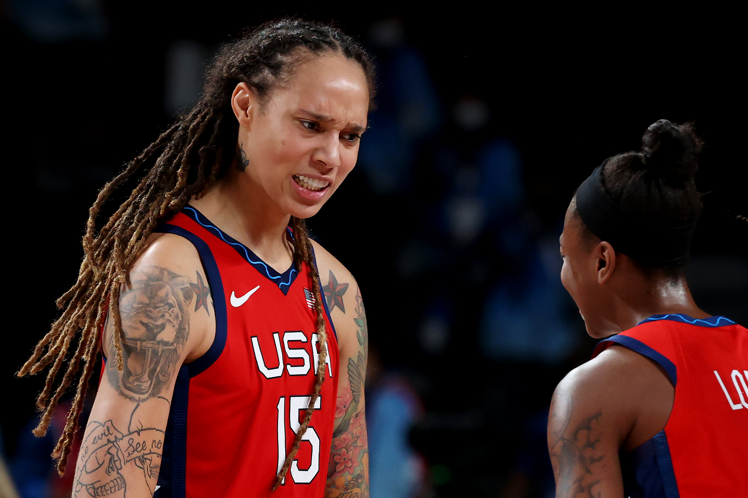 Brittney Griner #15 and Jewell Loyd #4 of Team United States celebrate a win against Team Australia during a Women's Basketball Quarterfinals game on day twelve of the Tokyo 2020 Olympic Games at Saitama Super Arena on August 04, 2021 in Saitama, Japan.