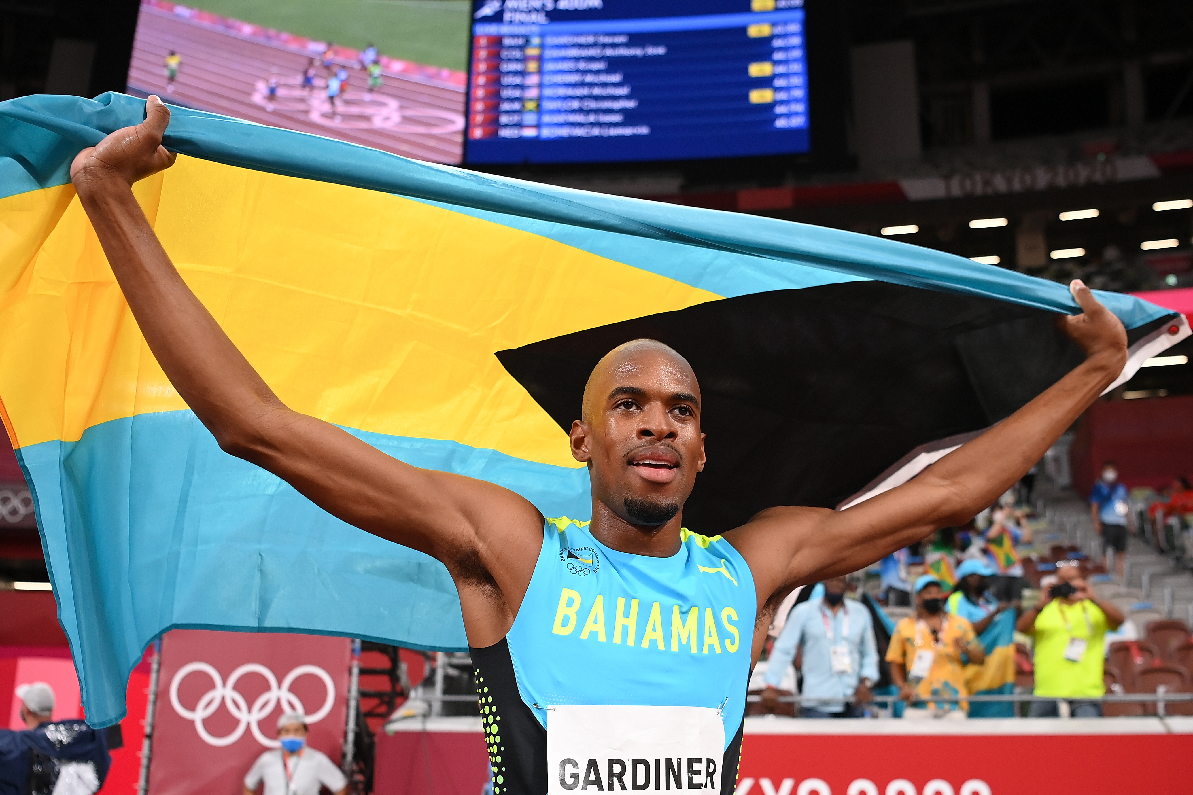Steven Gardiner of Team Bahamas celebrates after winning the gold medal in the Men's 400m Final on day thirteen of the Tokyo 2020 Olympic Games at Olympic Stadium on August 05, 2021 in Tokyo, Japan.