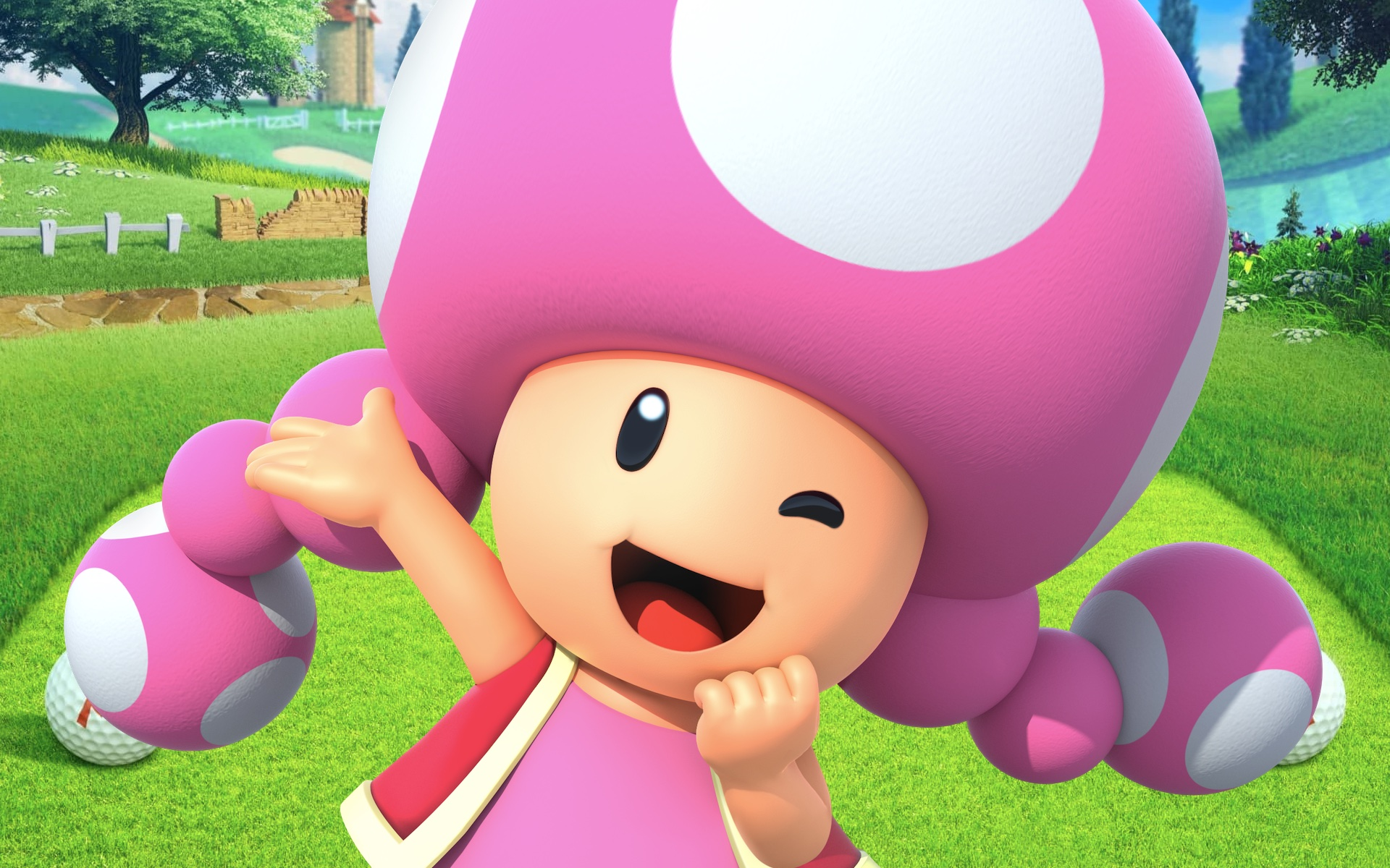 Artwork of Toadette on a Mario Golf course