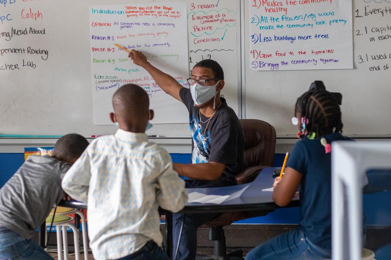 Tarik Timothy, a junior servant leader, at Freedom Schools Literacy Academy in West Philadelphia on Tuesday.