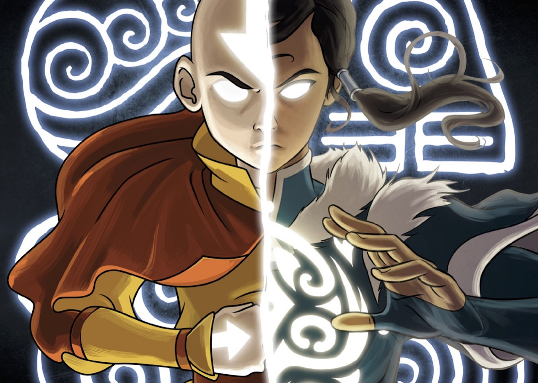 Artwork of Aang and Korra from Avatar Legends: The Roleplaying Game