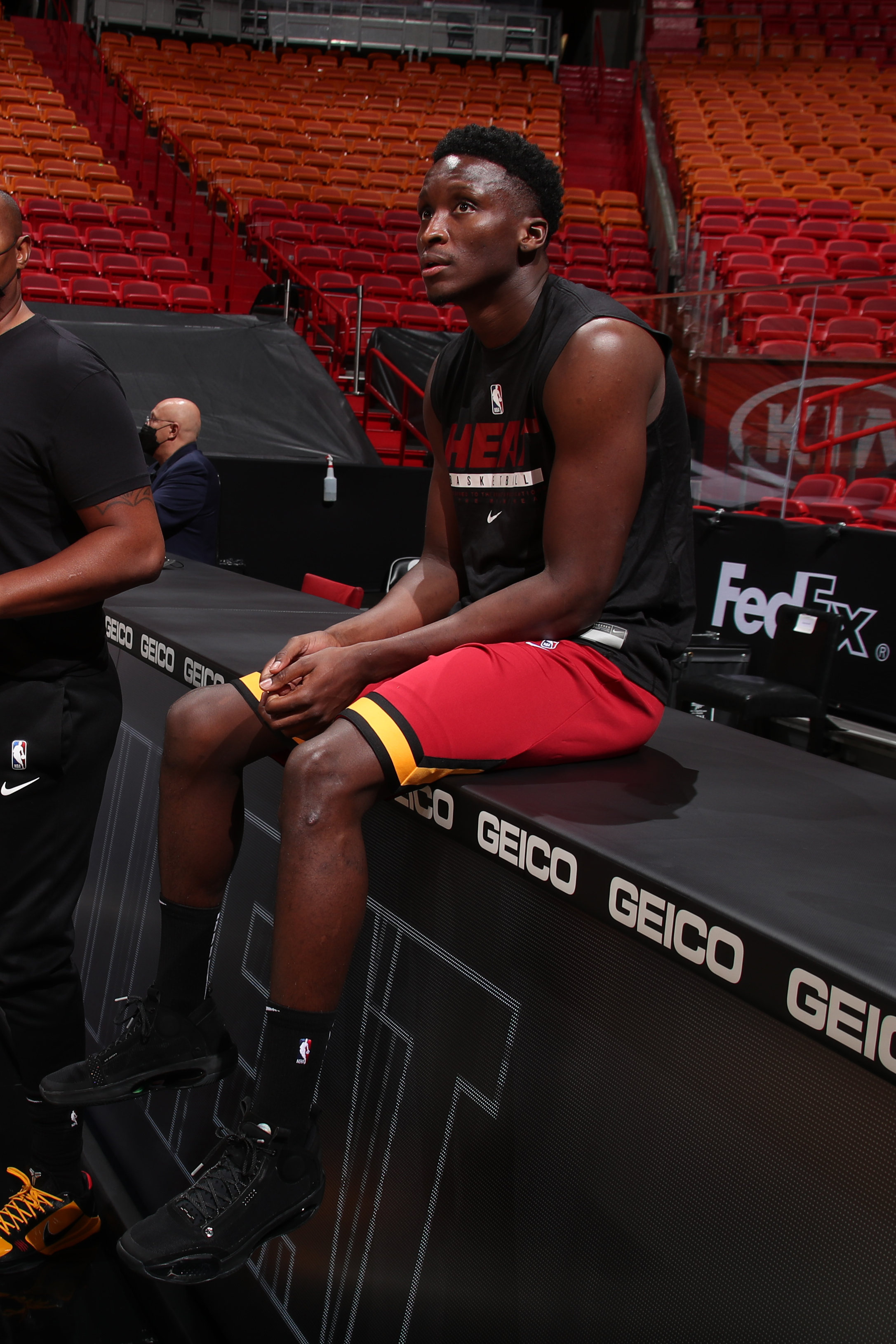 ictor Oladipo #4 of the Miami Heat looks on before the game against the Cleveland Cavaliers on April 3, 2021 at American Airlines Arena in Miami, Florida.