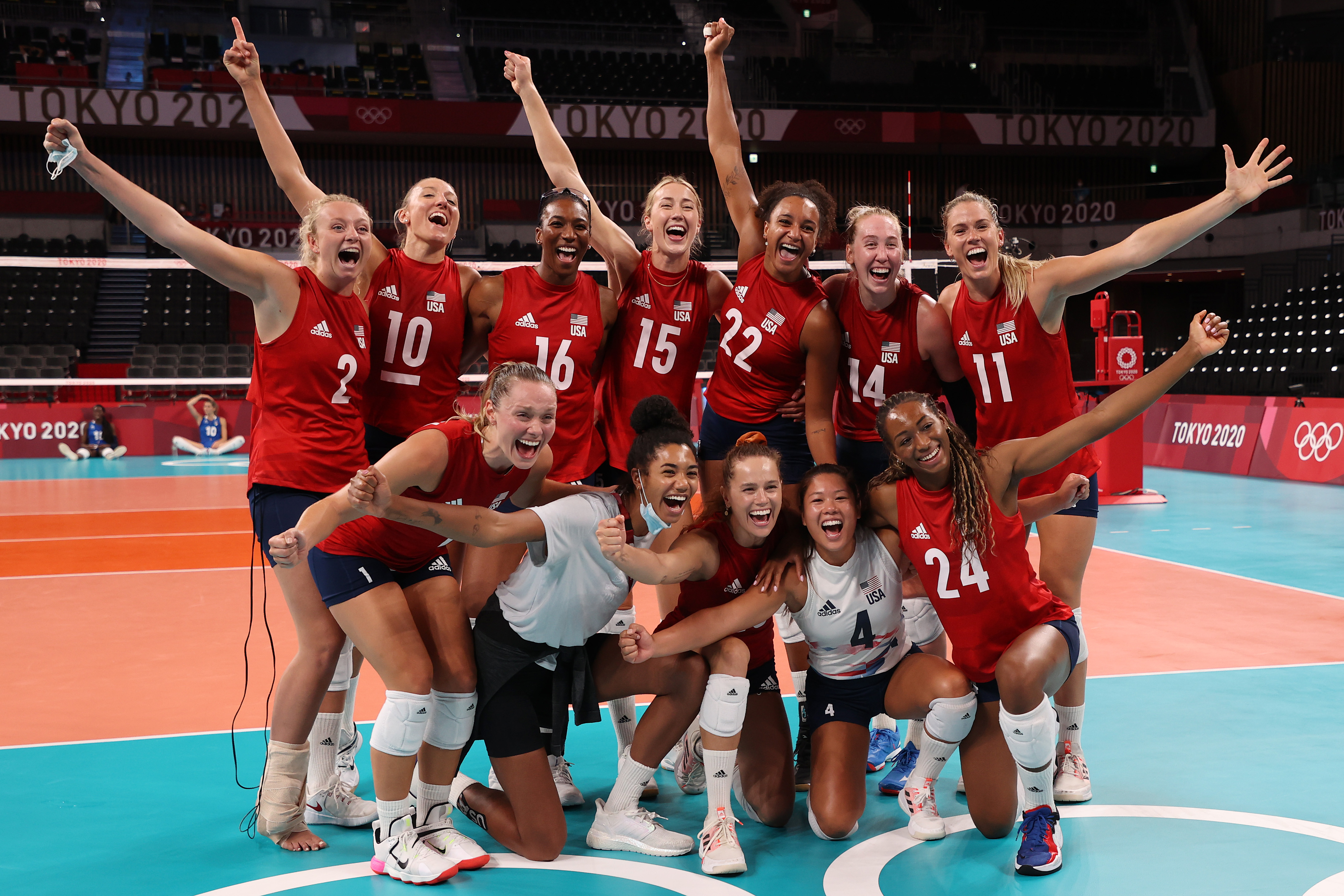 Team United States poses for a photo after defeating Team Italy during the Women's Preliminary - Pool B volleyball on day ten of the Tokyo 2020 Olympic Games at Ariake Arena on August 02, 2021 in Tokyo, Japan.