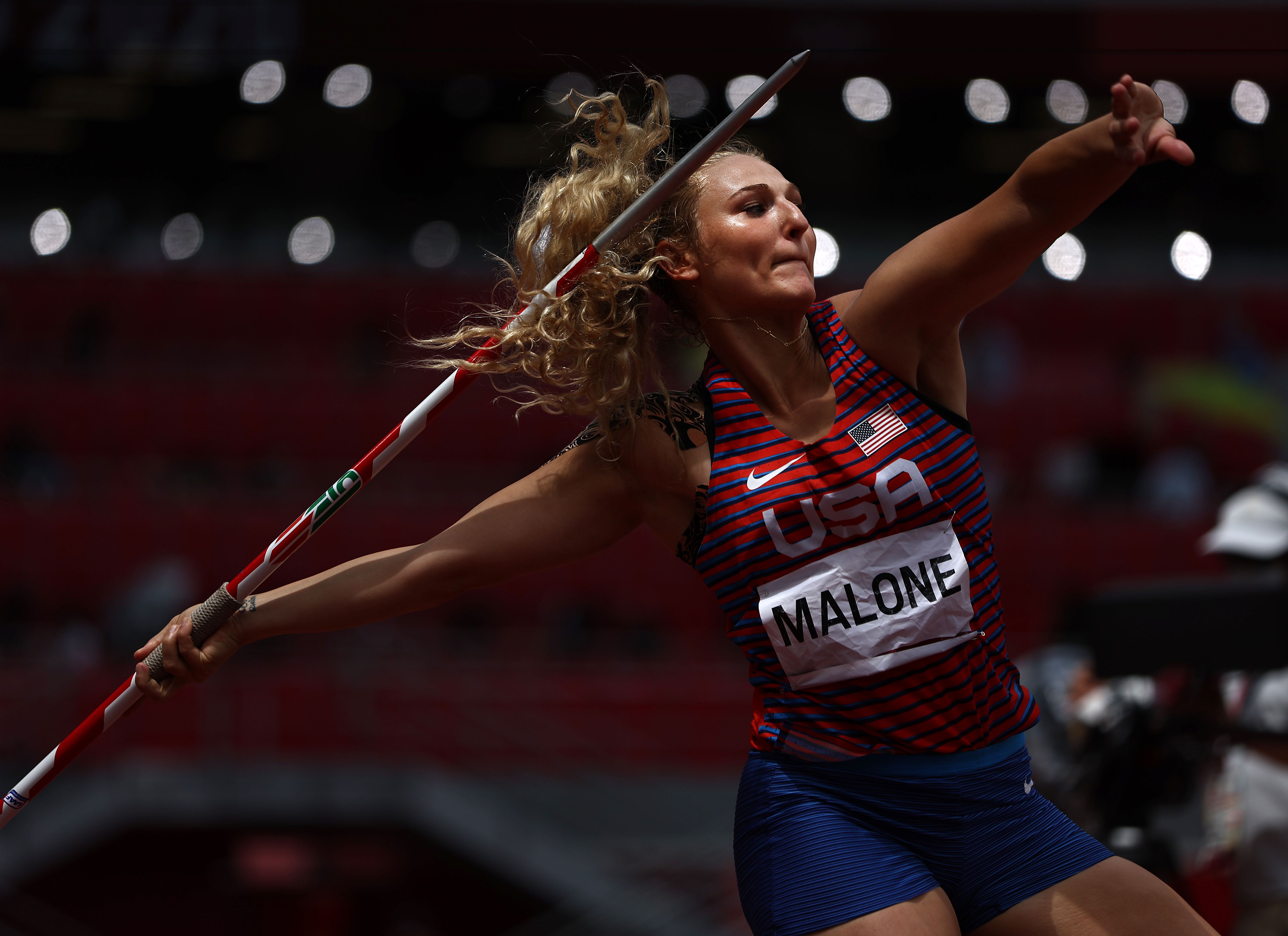 Maggie Malone of Team United States competes in the Women's Javelin Throw Qualification on day eleven of the Tokyo 2020 Olympic Games at Olympic Stadium on August 03, 2021 in Tokyo, Japan