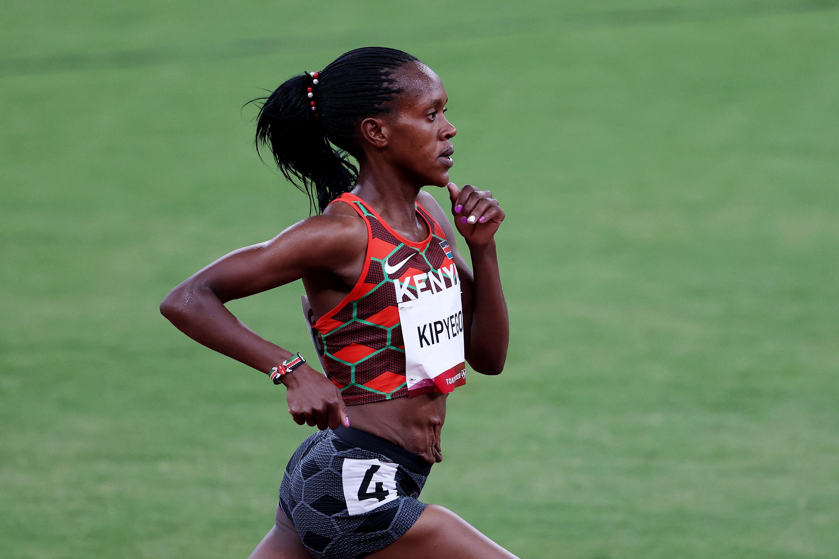 Faith Kipyegon of Team Kenya competes in the Women's 1500m Semi Final on day twelve of the Tokyo 2020 Olympic Games at Olympic Stadium on August 04, 2021 in Tokyo, Japan.