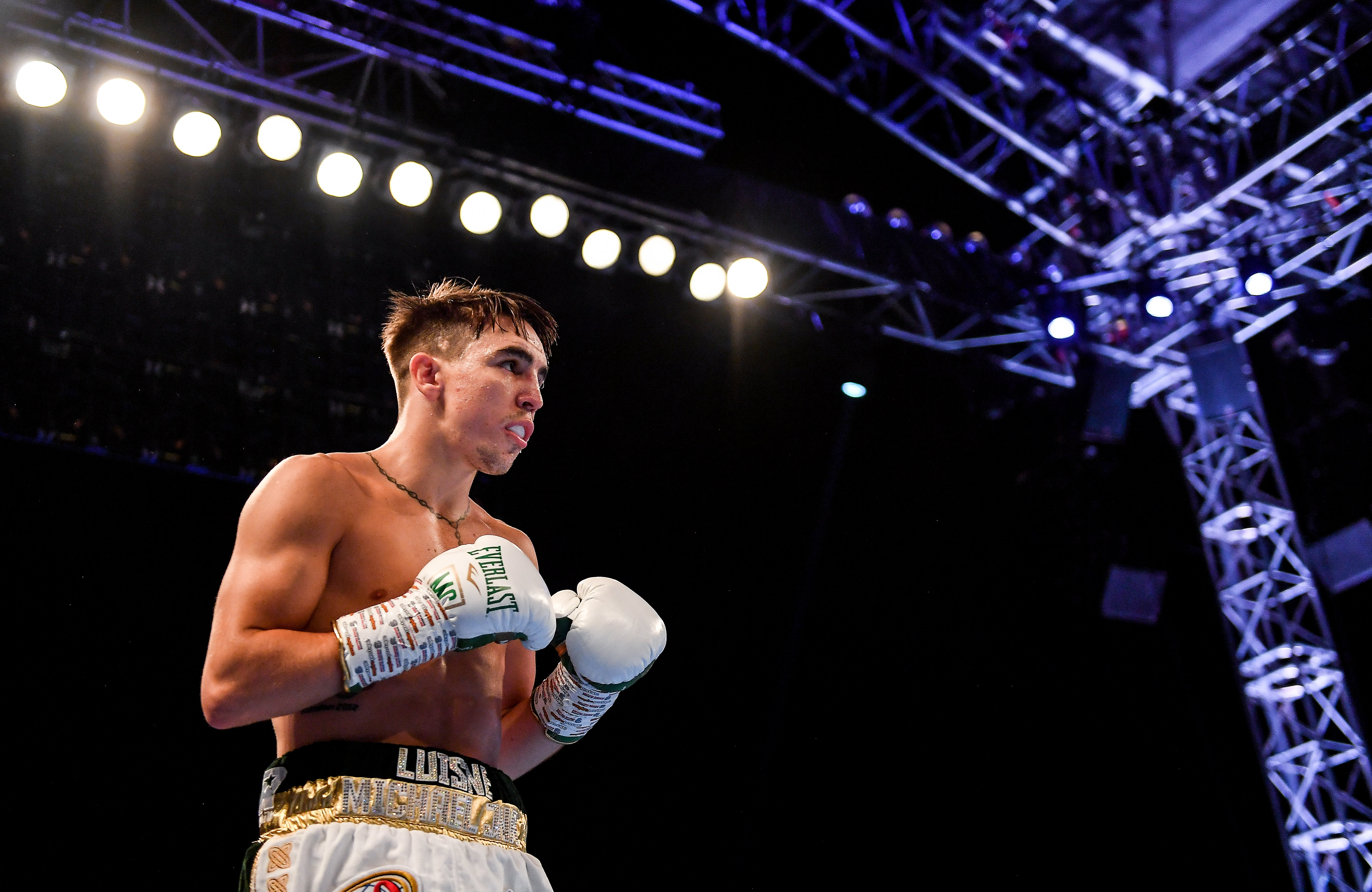 Michael Conlan during his WBA and WBO Inter-Continental Featherweight title bout against Diego Alberto Ruiz at Falls Park in Belfast.