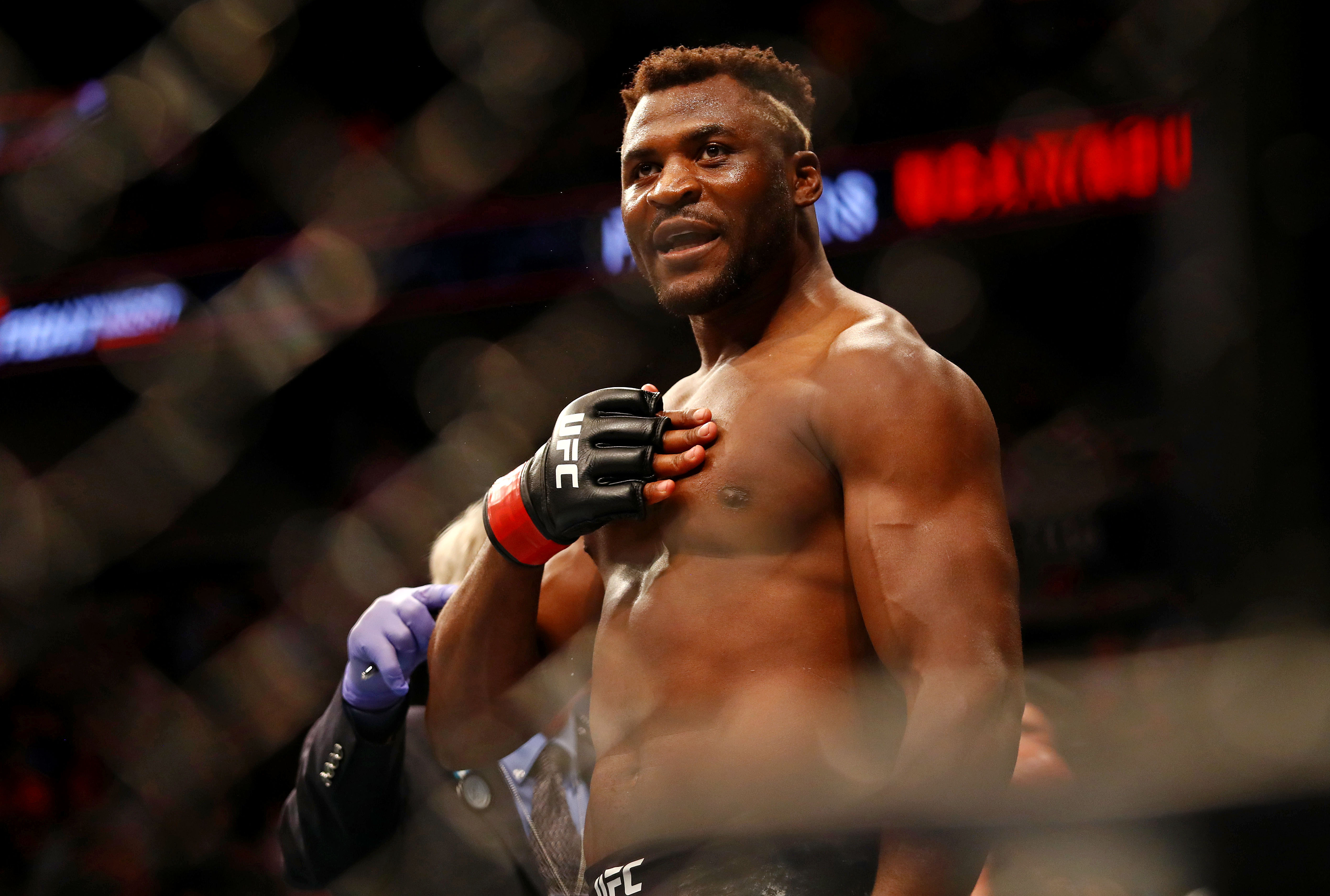 Francis Ngannou celebrates beating Junior dos Santos at UFC Fight Night at Target Center.