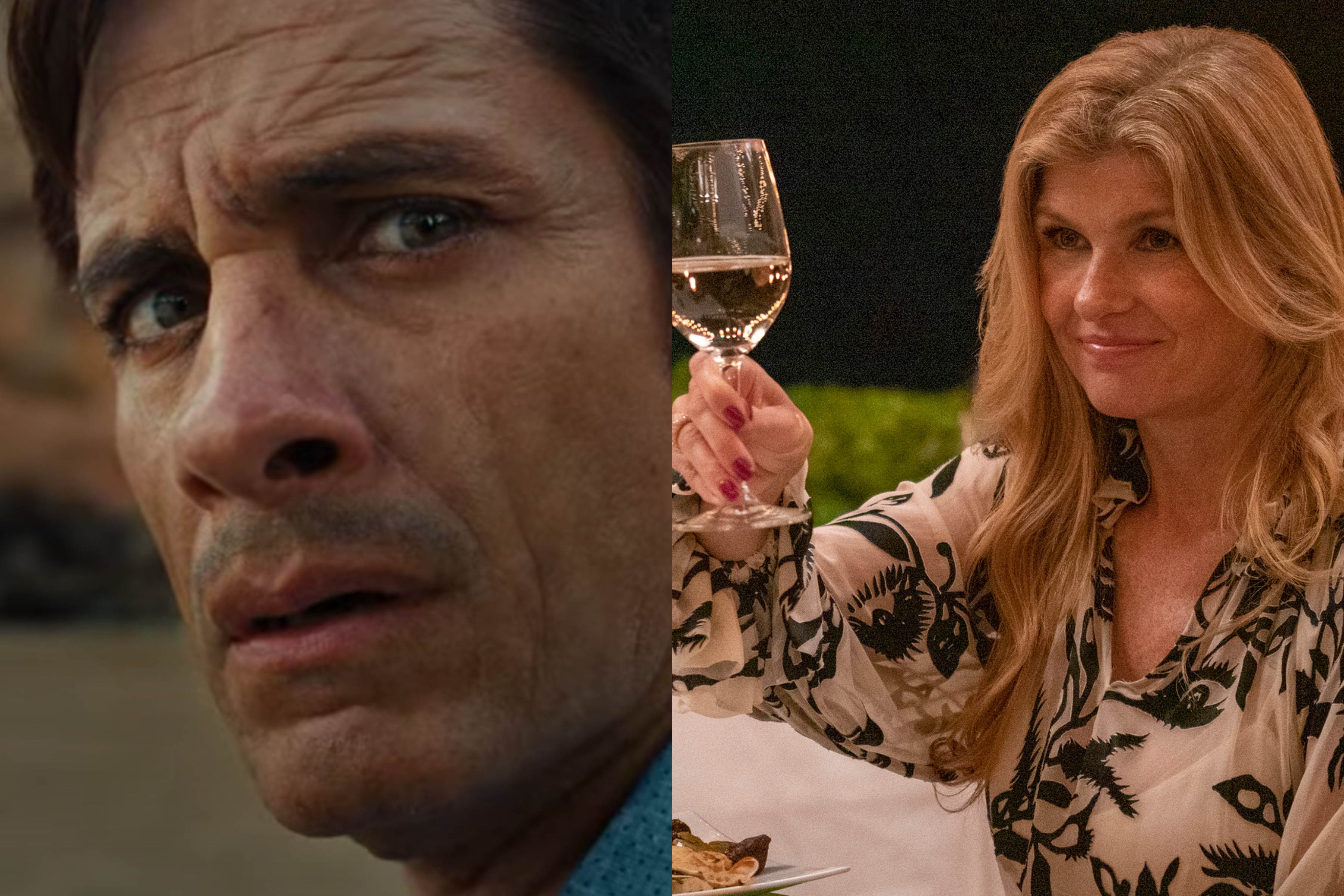Gael Garcia Bernal, in old-age makeup, stares at something off-camera, while Connie Britton toasts someone with a glass of white wine, in a diptych of two images.