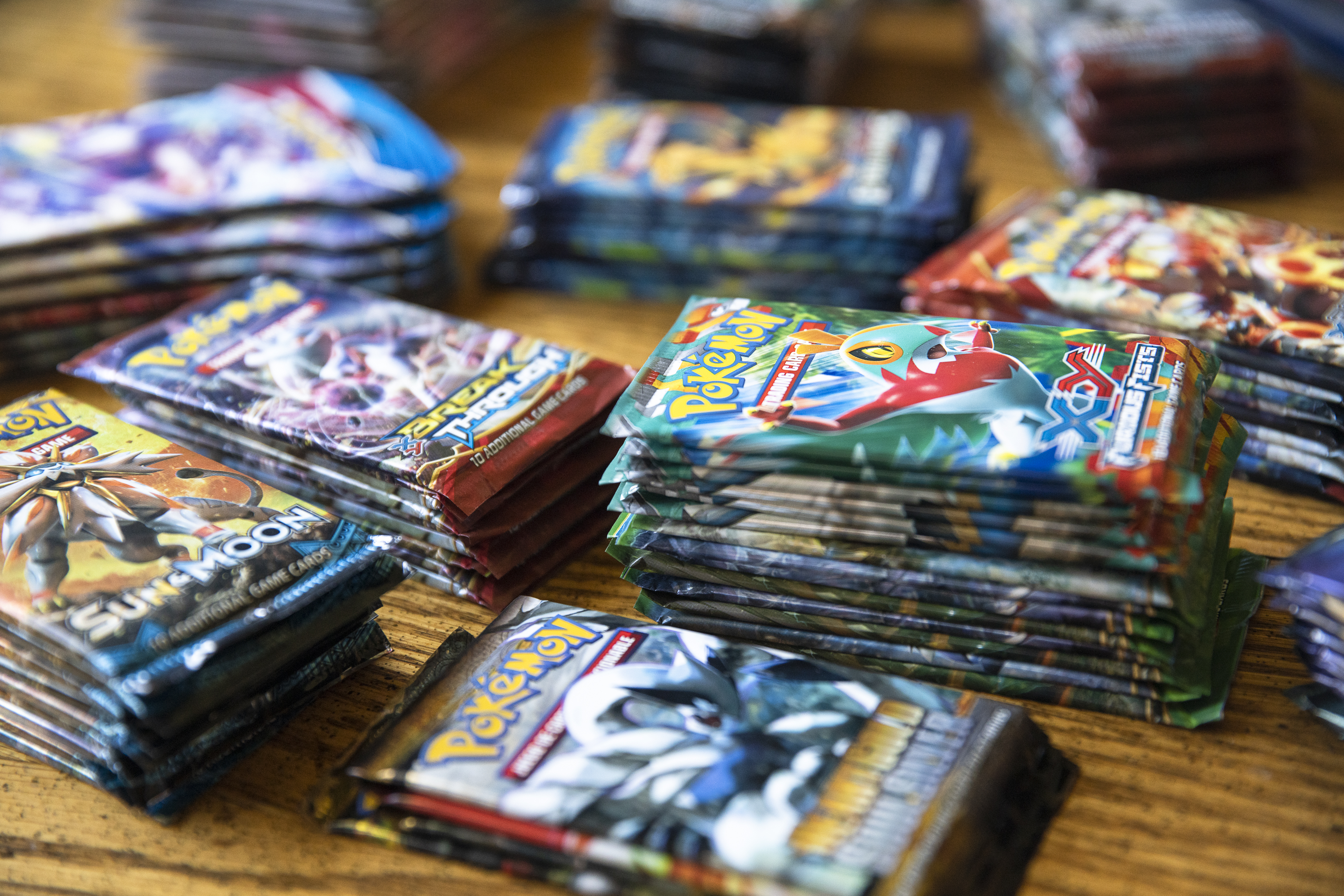 Stacks of trading cards.