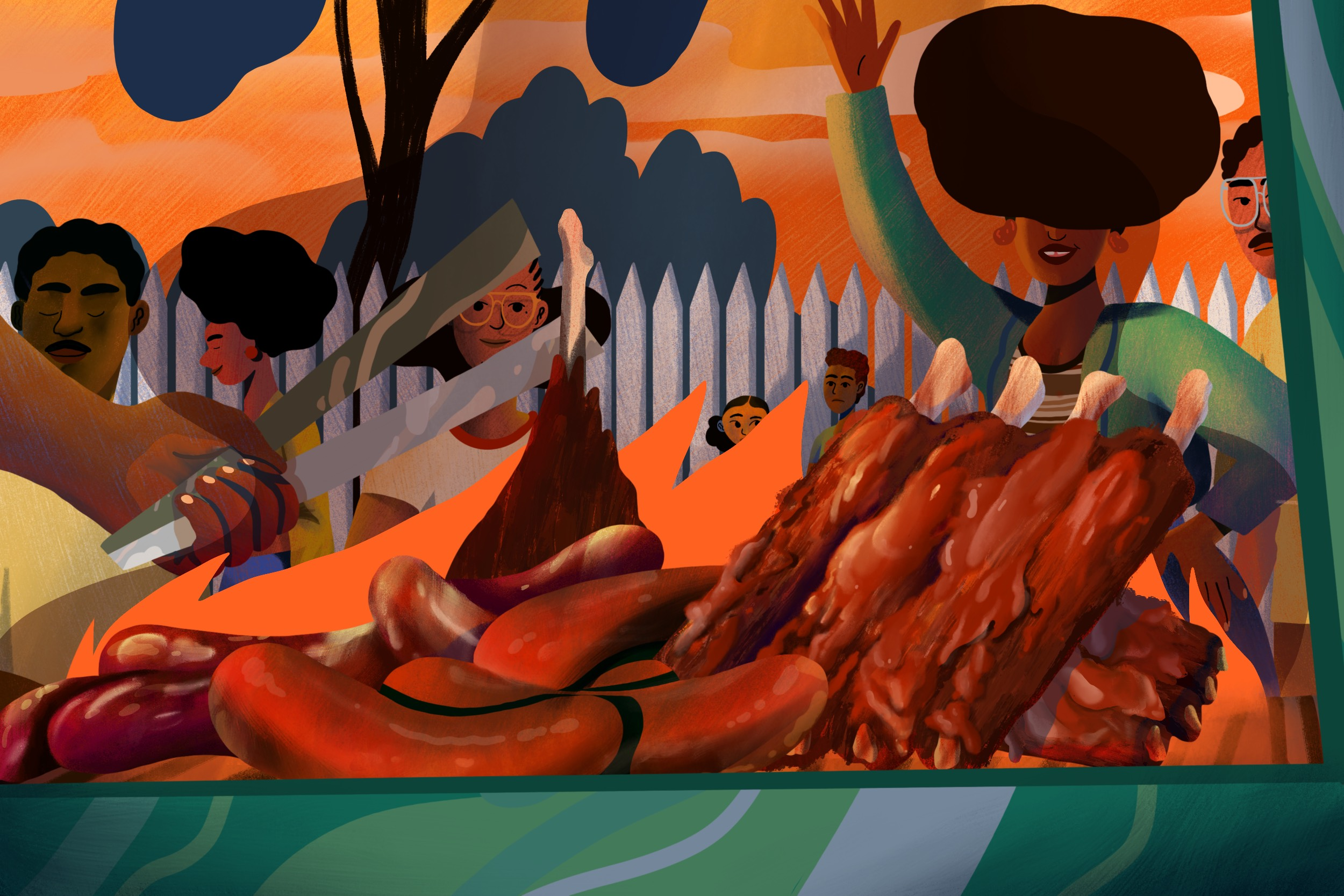 Illustration for growing up on Los Angeles Black barbecue by Camilla Sucre