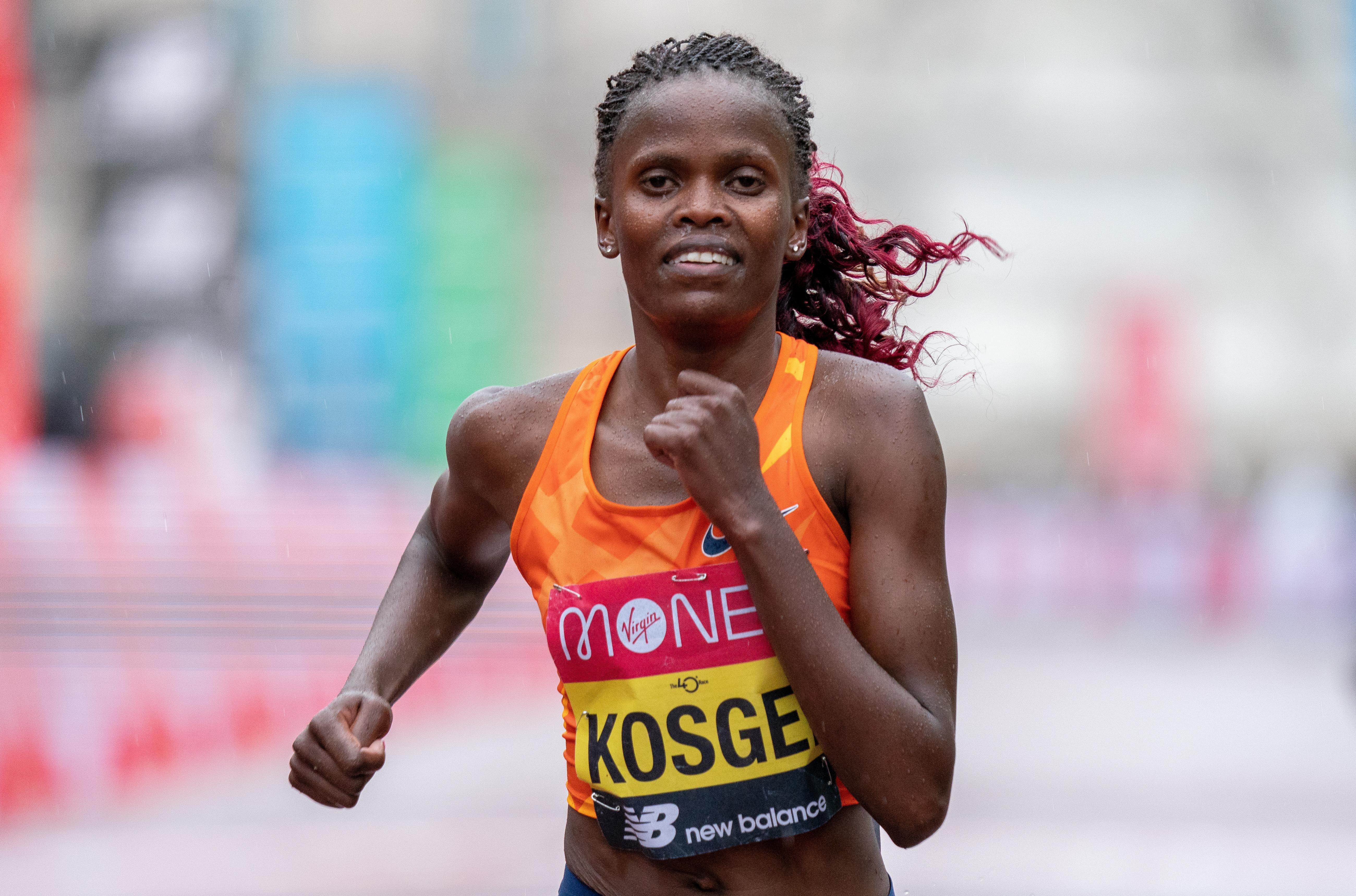 Brigid Kosgei of Kenya competes in the Elite Women's Field during the 2020 Virgin Money London Marathon around St James on October 04, 2020 in London, England.