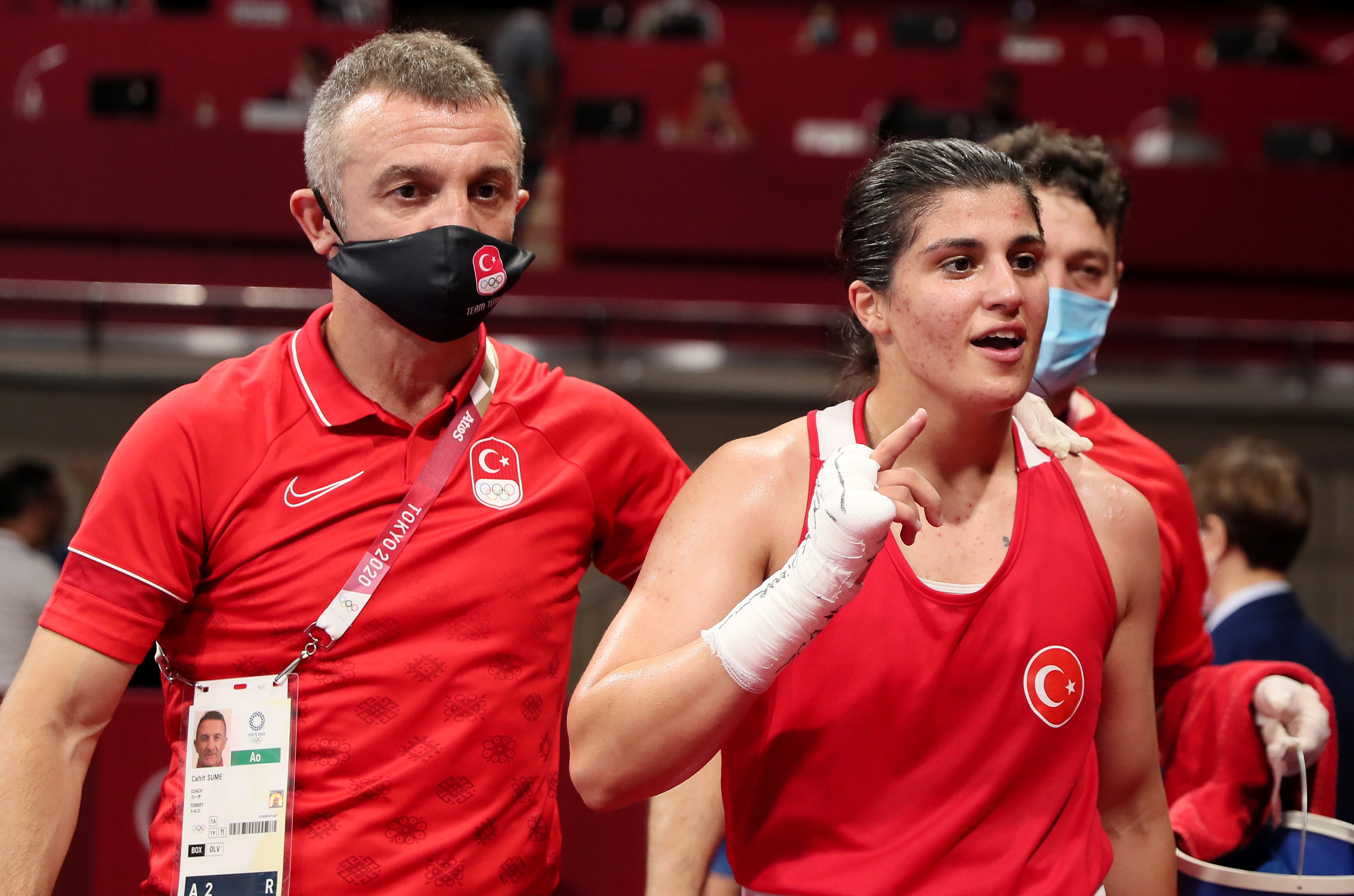 Busenaz Surmeneli of Team Turkey celebrates victory over Lovlina Borgohain of Team India during the Women's Welter (64-69kg) semi final on day twelve of the Tokyo 2020 Olympic Games at Kokugikan Arena on August 04, 2021 in Tokyo, Japan.