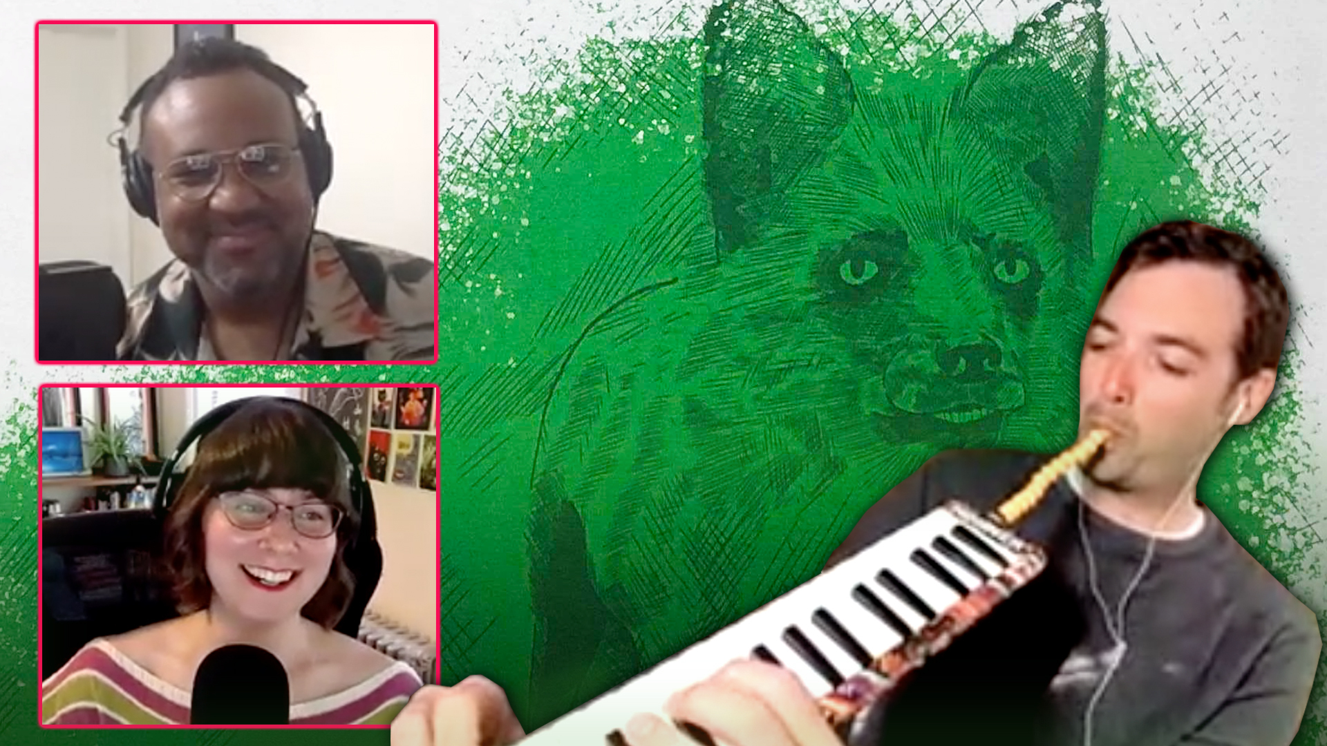A collage with two people in front of microphones on the left and another person on the right enthusiastically playing a melodica, all over a background of a fox drawn in green colors.