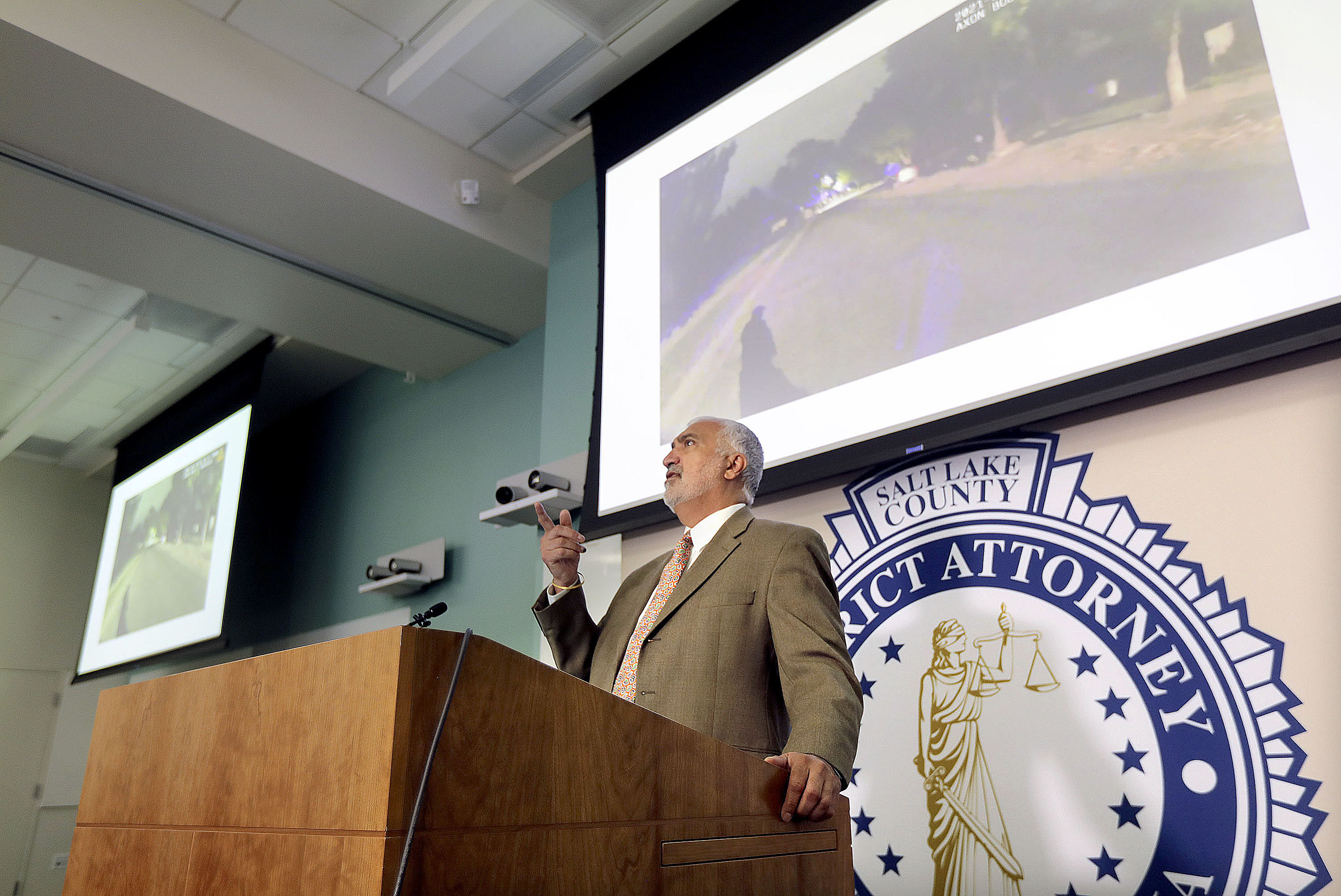 Salt Lake County District Attorney Sim Gill discusses speaks at a press conference about an officer-involved shooting.