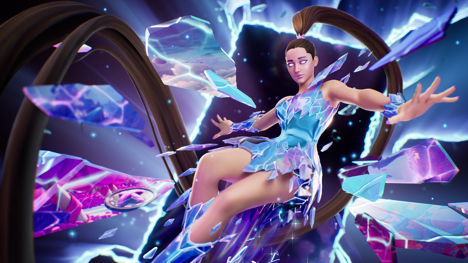 Ariana Grande in her Rift Tour outfit for Fortnite