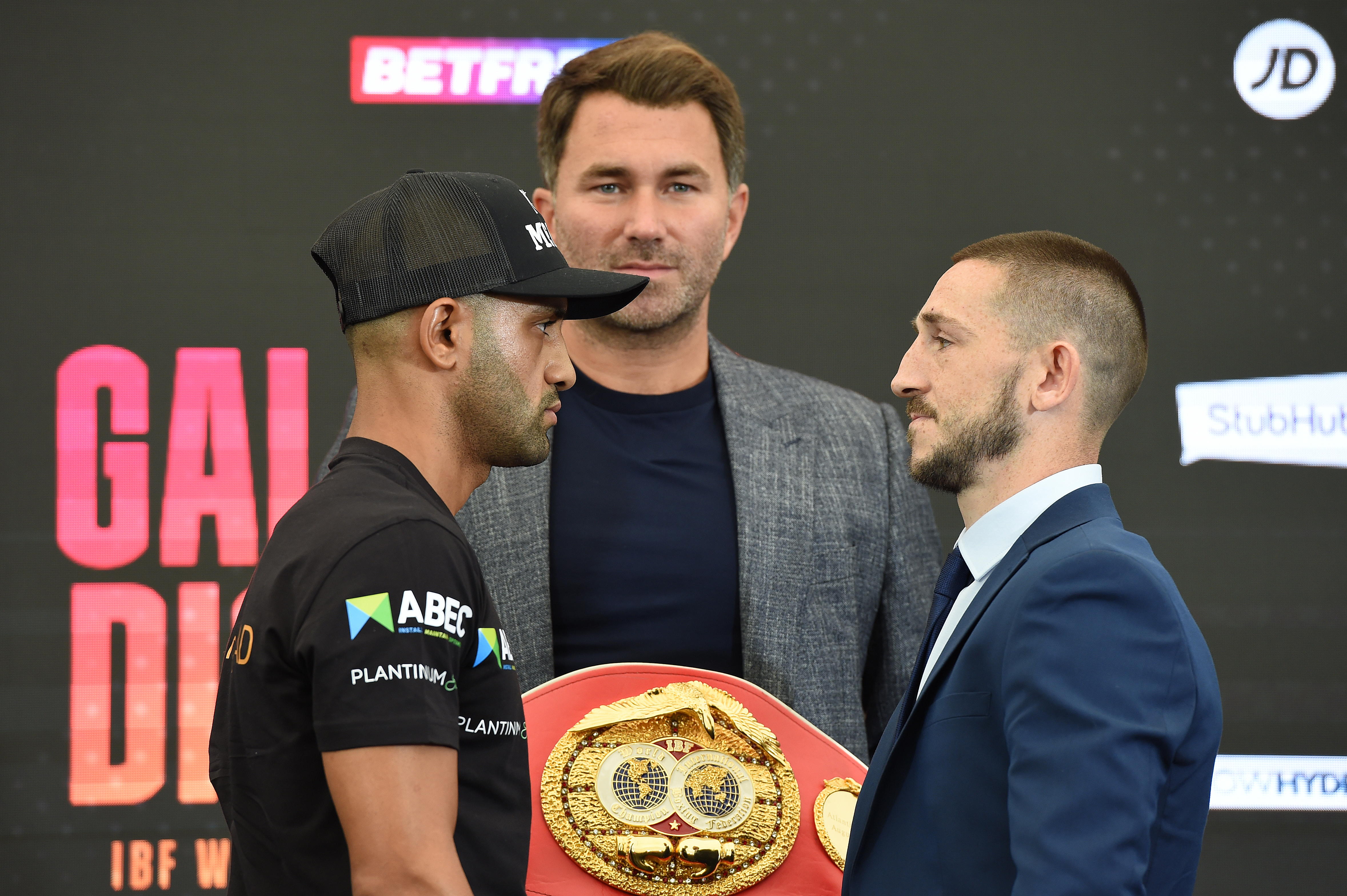 Kid Galahad and James Dickens face off ahead of their IBF World Featherweight Title fight on August 5, 2021 in Brentwood, England.