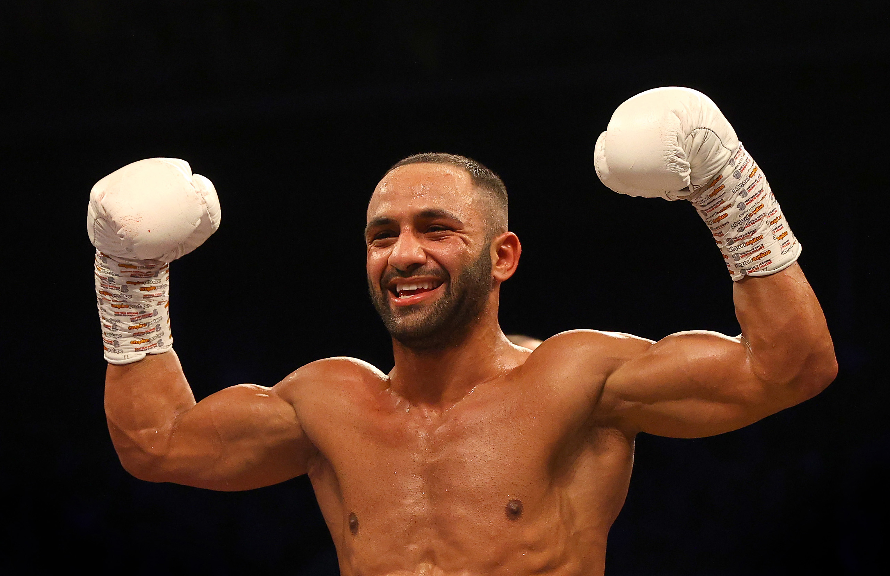 Kid Galahad celebrates victory over Claudio Marrero during the IBF Featherweight World Title Final Eliminator fight between Kid Galahad and Claudio Marrero at FlyDSA Arena on February 08, 2020 in Sheffield, England.