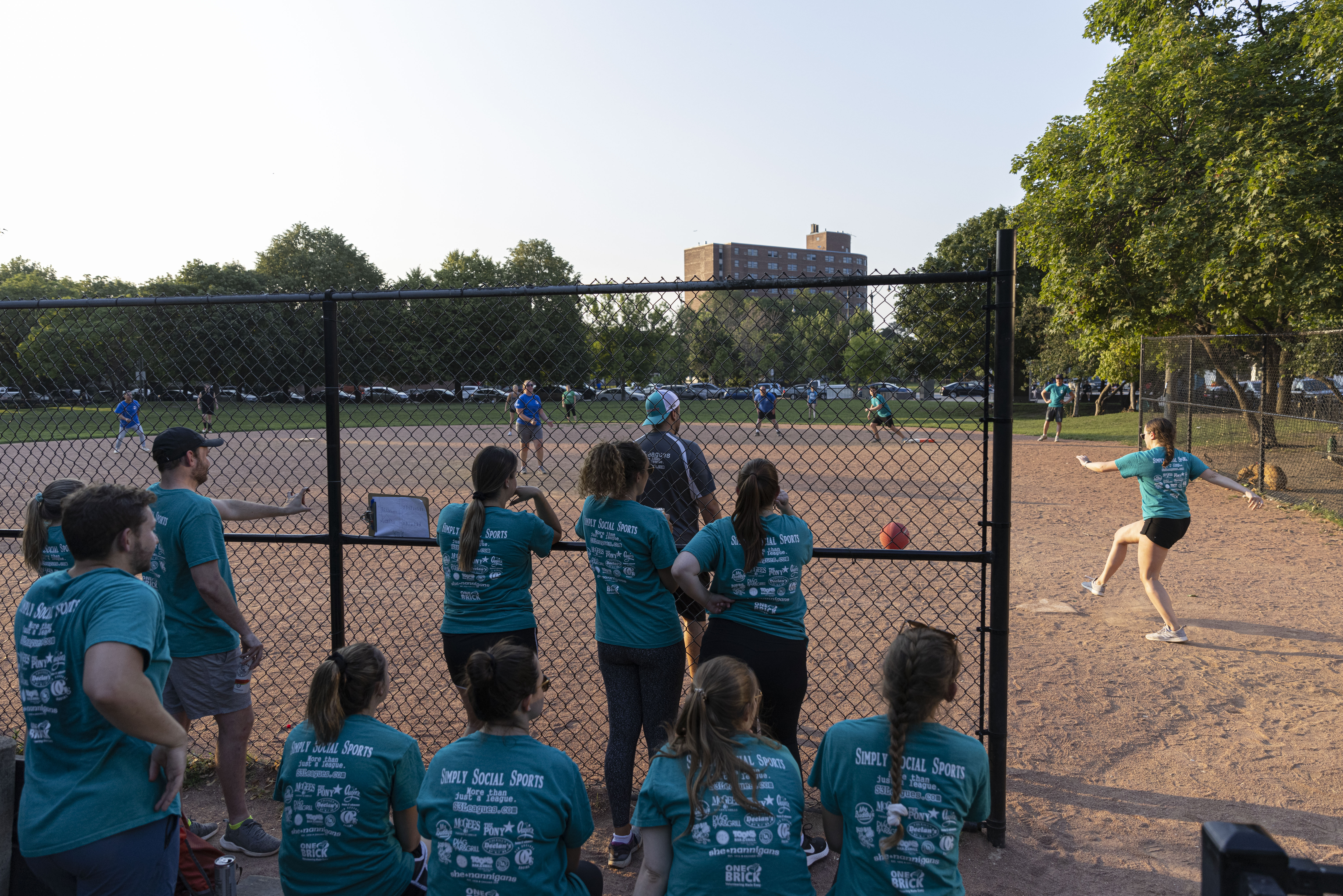 A Simply Social Sports adult kickball playoff game at Jonquil Park on Tuesday, July 27, 2021.