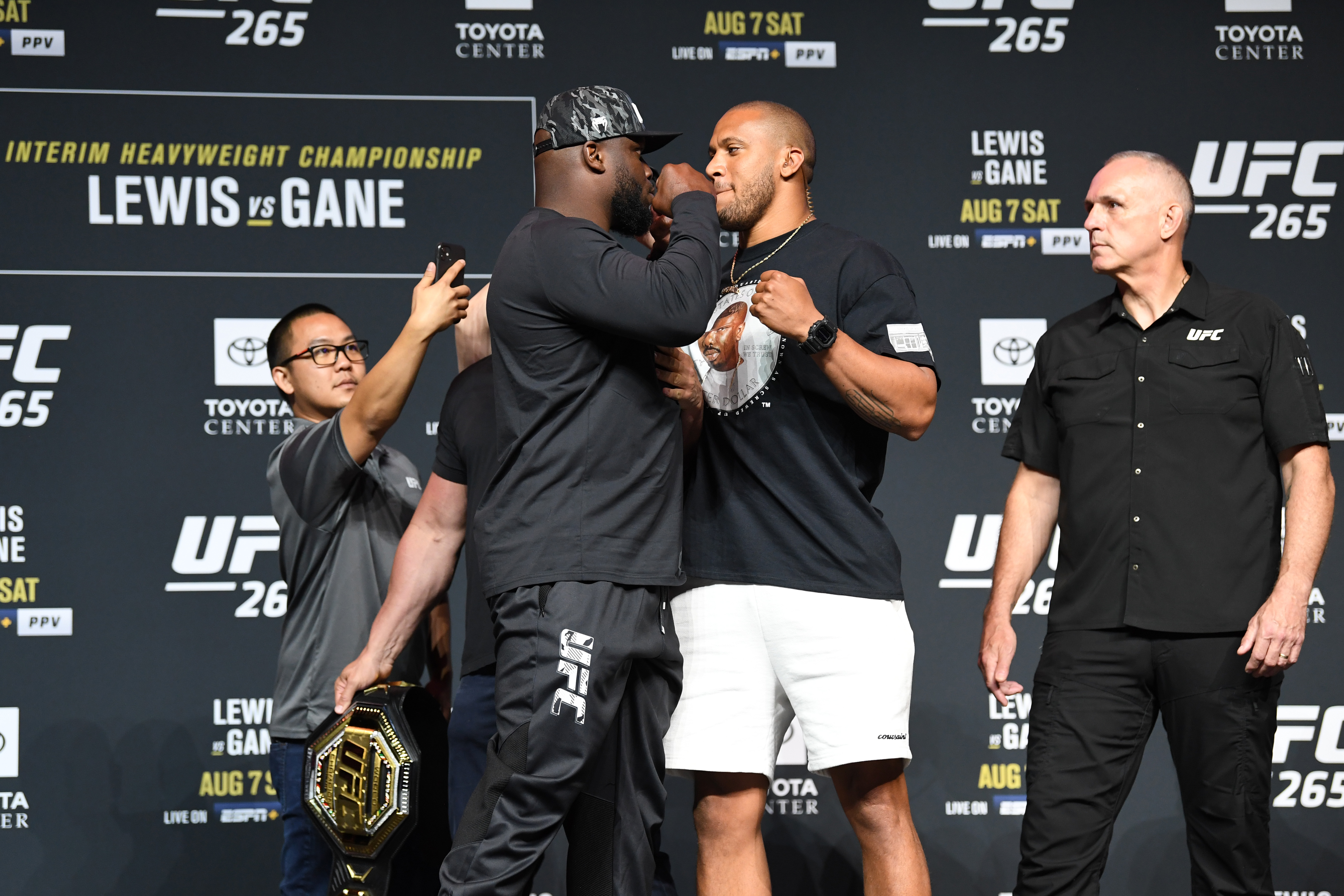 Derrick Lewis and Ciryl Gane of France face off during the UFC 265 press conference at at Toyota Center on August 05, 2021 in Houston, Texas.