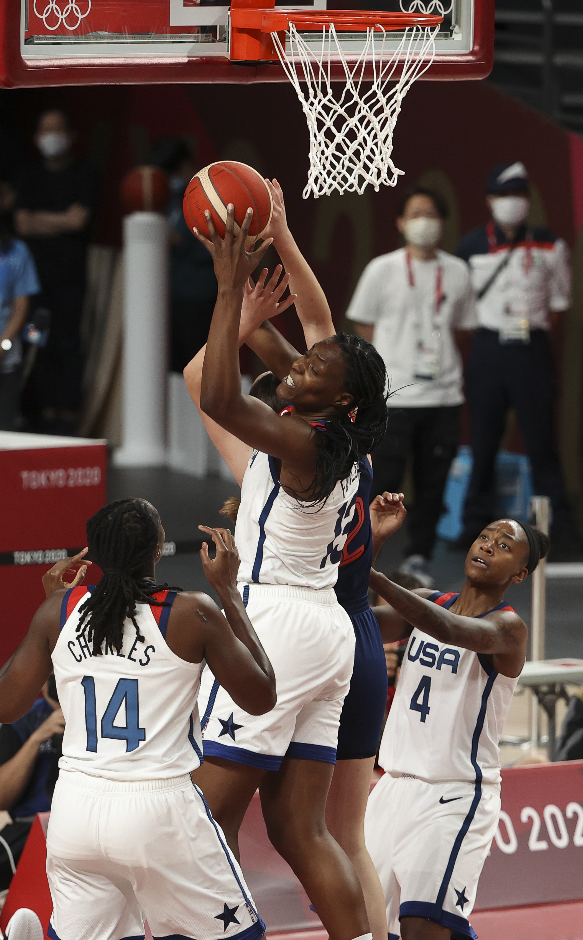 Sylvia Fowles of USA during the Women's Semifinal Basketball game between United States and Serbia on day fourteen of the Tokyo 2020 Olympic Games at Saitama Super Arena on August 6, 2021 in Saitama, Japan.