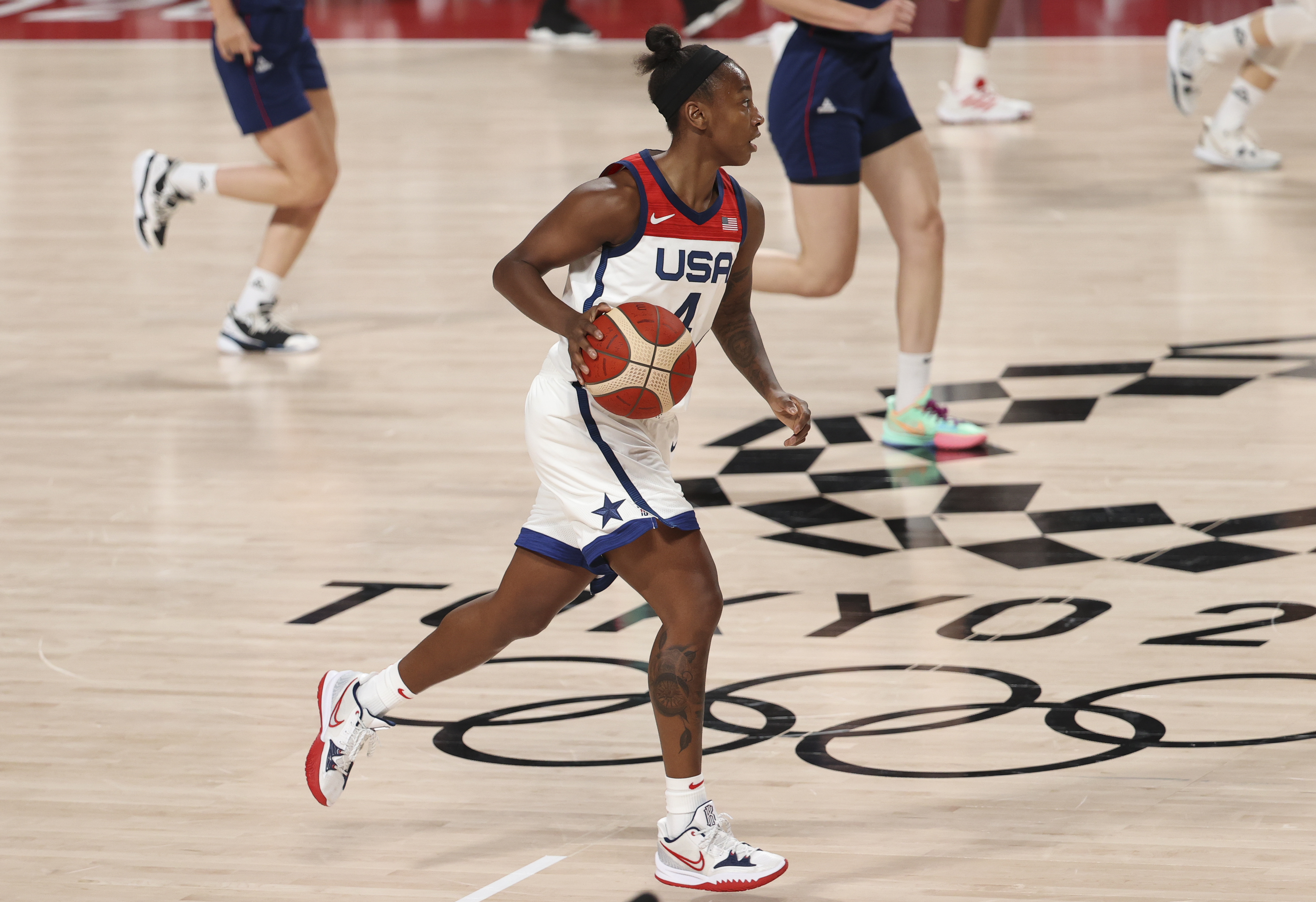 Jewell Loyd of USA during the Women's Semifinal Basketball game between United States and Serbia on day fourteen of the Tokyo 2020 Olympic Games at Saitama Super Arena on August 6, 2021 in Saitama, Japan.