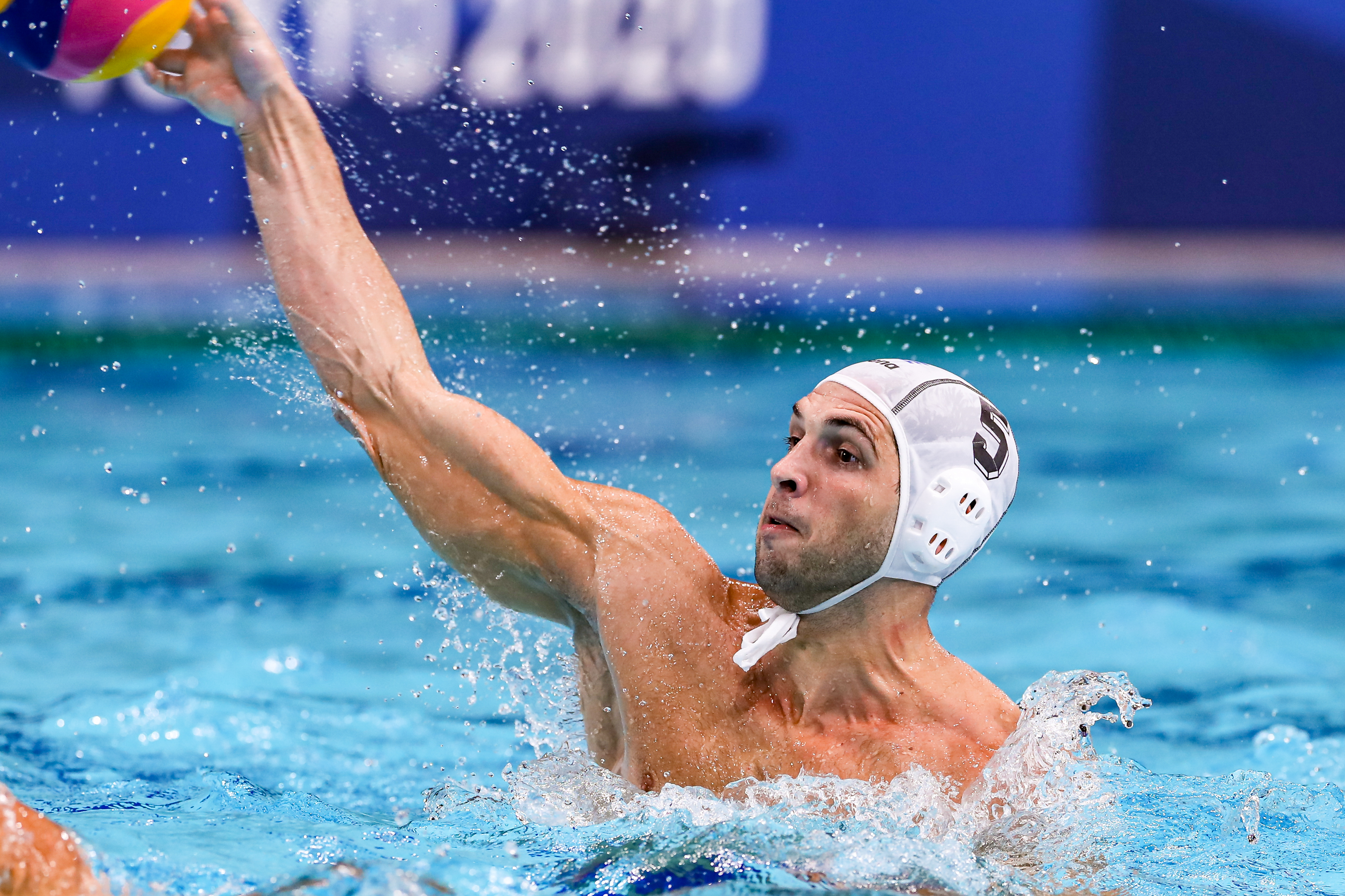 Ioannis Fountoulis of Greece during the Tokyo 2020 Olympic Waterpolo Tournament men's Semi Final match between Greece and Hungary at Tatsumi Waterpolo Centre on August 6, 2021 in Tokyo, Japan