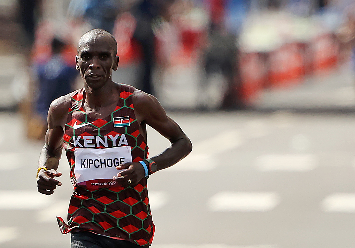 Eliud Kipchoge of Team Kenya competes in the Men's Marathon Final on day sixteen of the Tokyo 2020 Olympic Games at Sapp