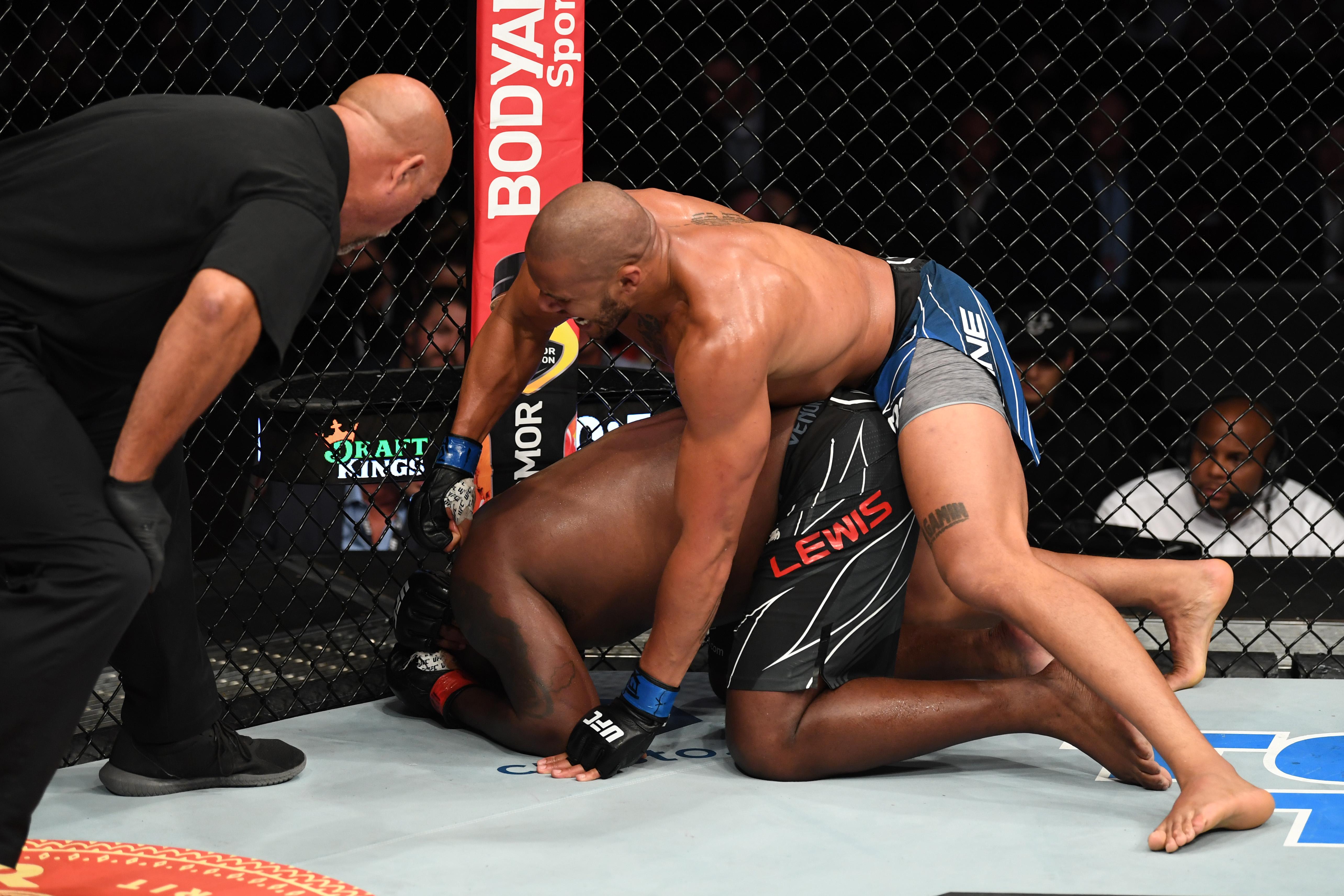 Ciryl Gane TKO'd Derrick Lewis at UFC 265.