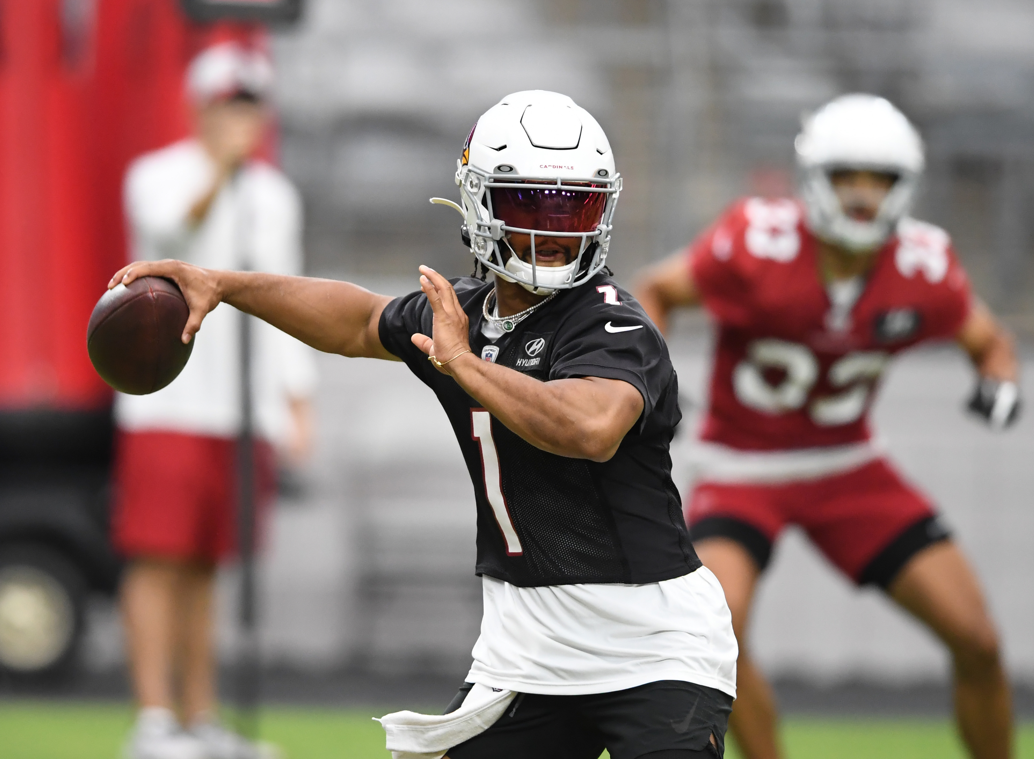 Kyler Murray #1 of the Arizona Cardinals participates in drills during Training Camp at State Farm Stadium on July 29, 2021 in Glendale, Arizona.
