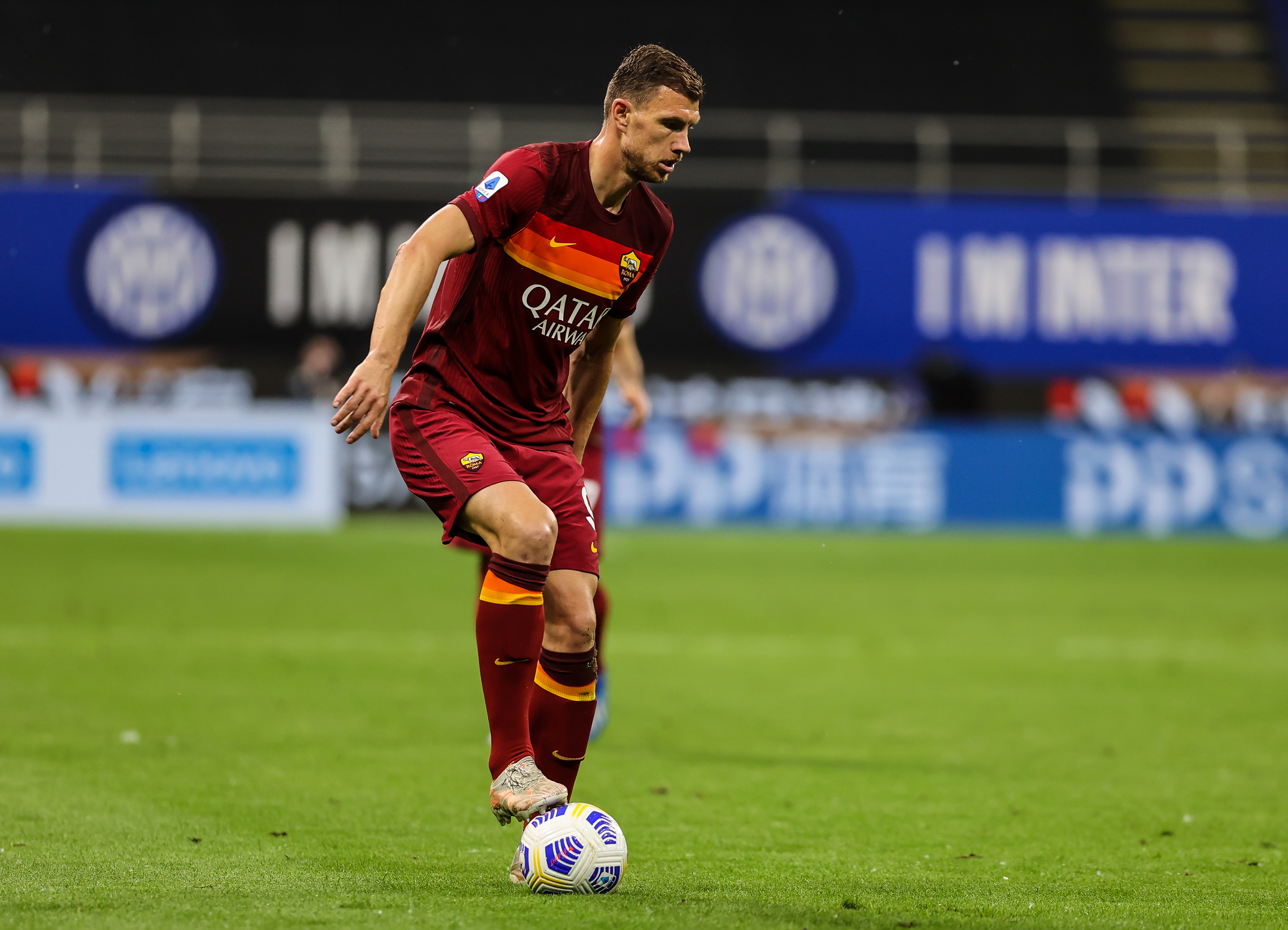 Edin Dzeko of AS Roma in action during the Serie A 2020/21...