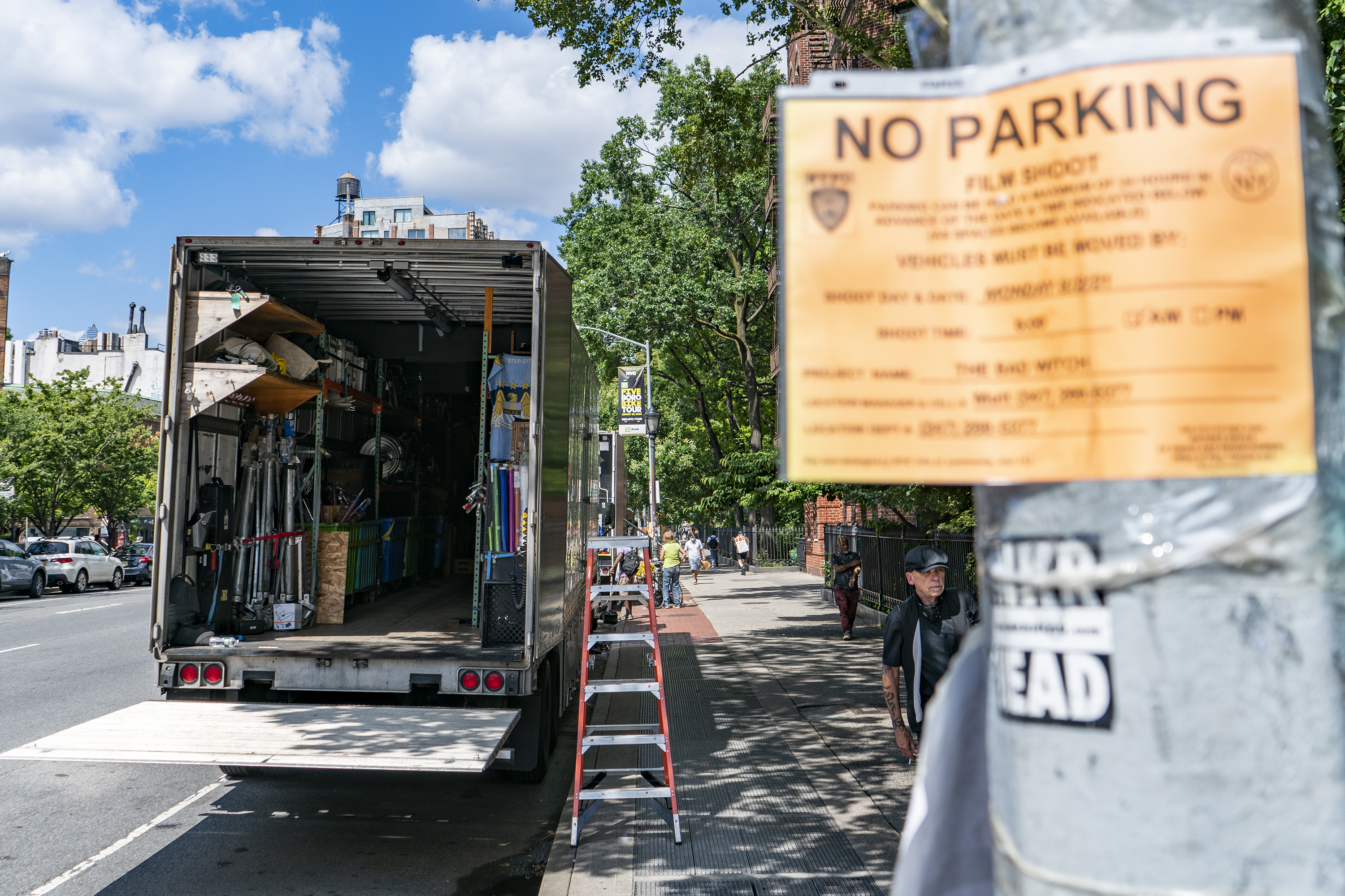 """An equipment truck for the """"Good Witch"""" TV series, sits parked on Sixth Avenue, Aug. 2, 2021."""