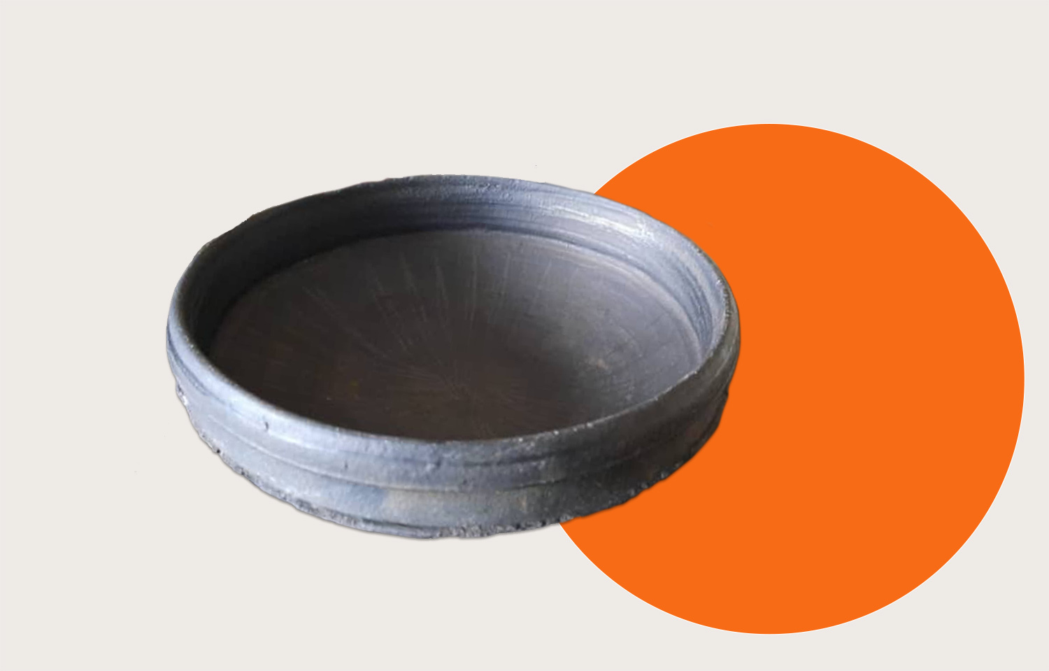 A clay pot on an abstract background