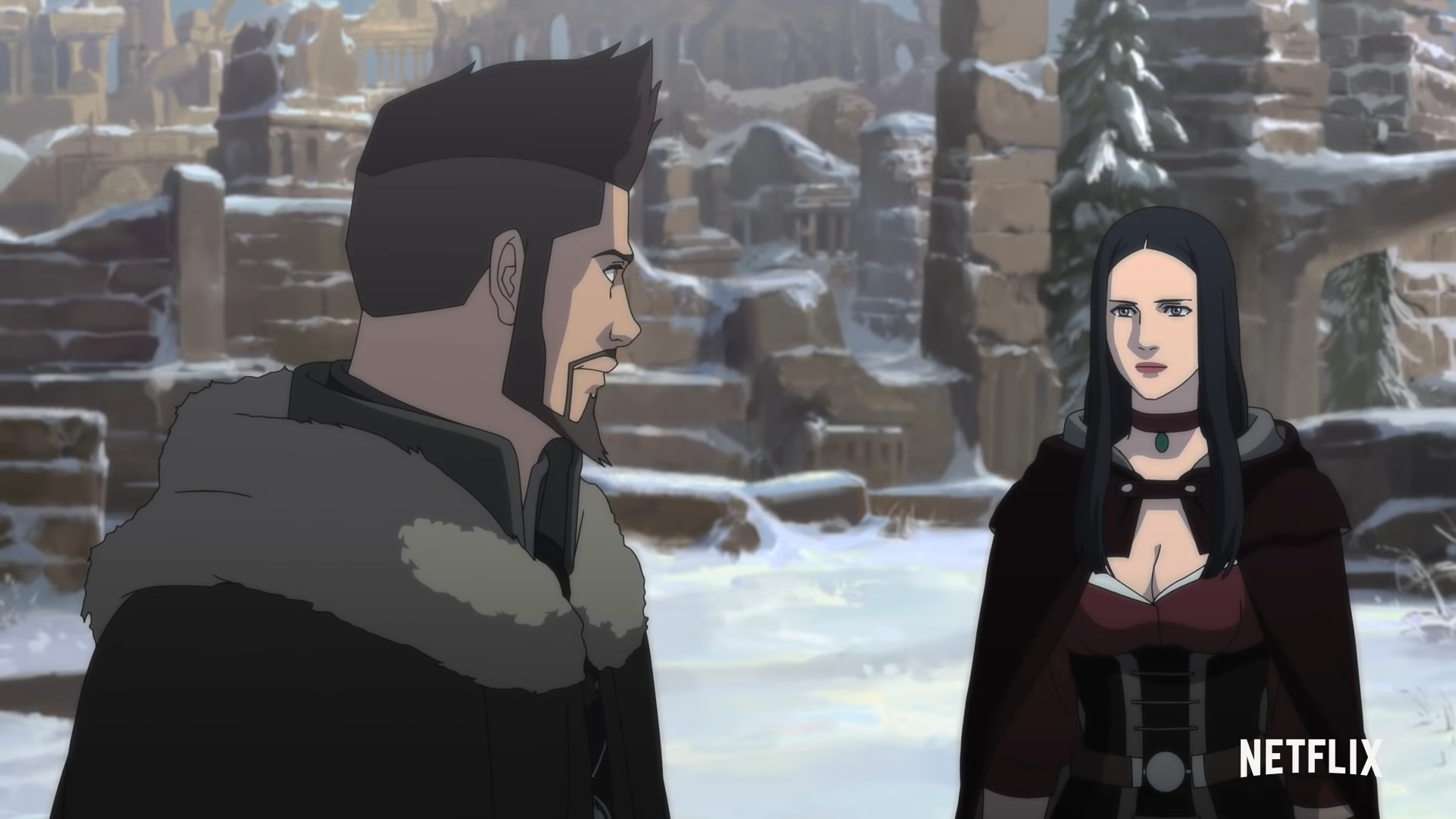 Vesemir and Tetra talk in the snow in The Witcher: Nightmare of the Wolf