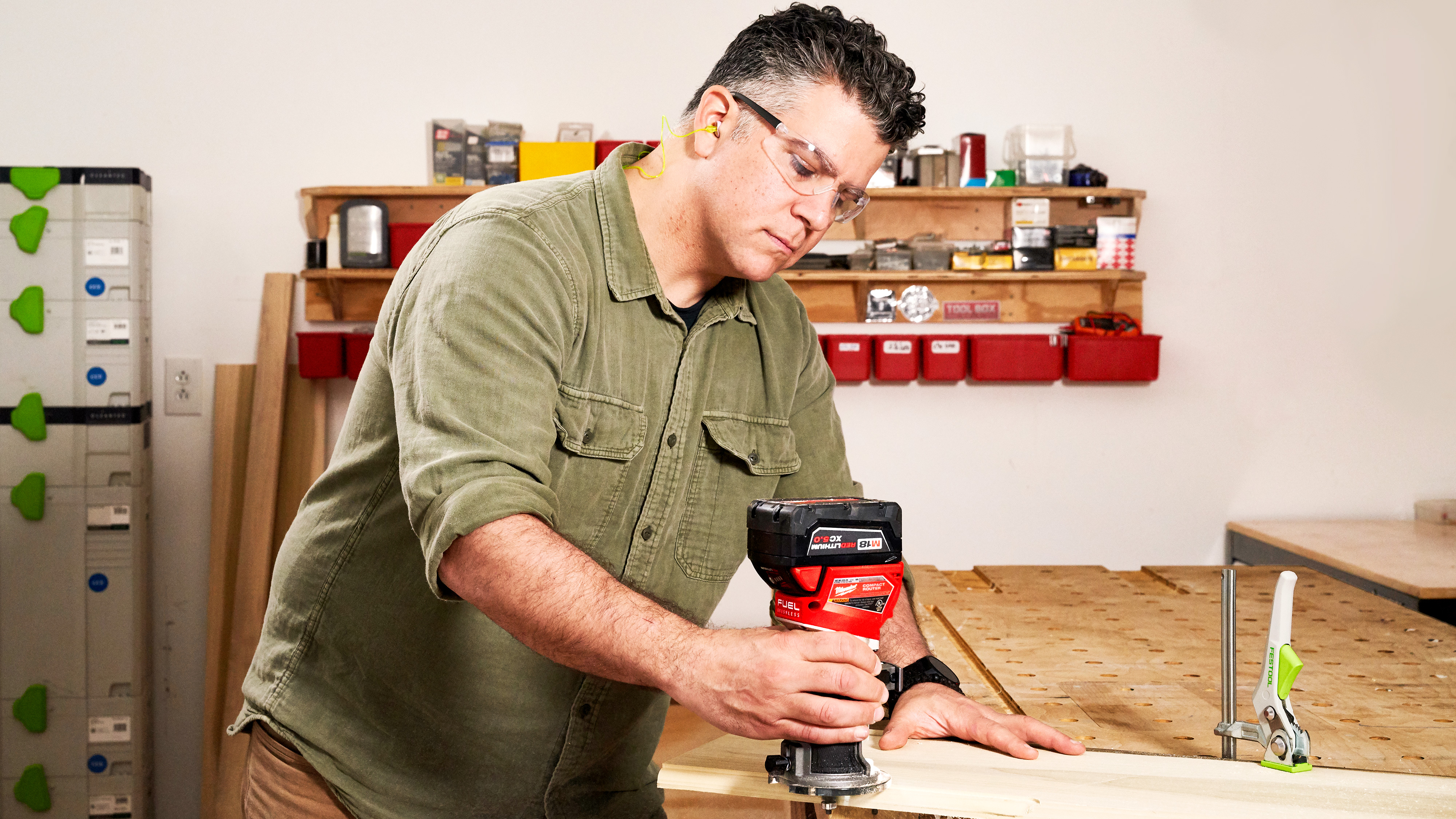 Fall 2021 Tool Lab, compact routers, Chris Ermides using a router