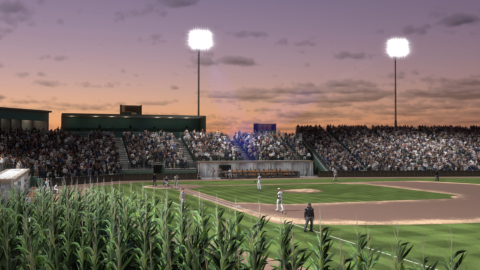 The view from right field foul territory, overlooking corn, at the Field of Dreams in MLB The Show 21