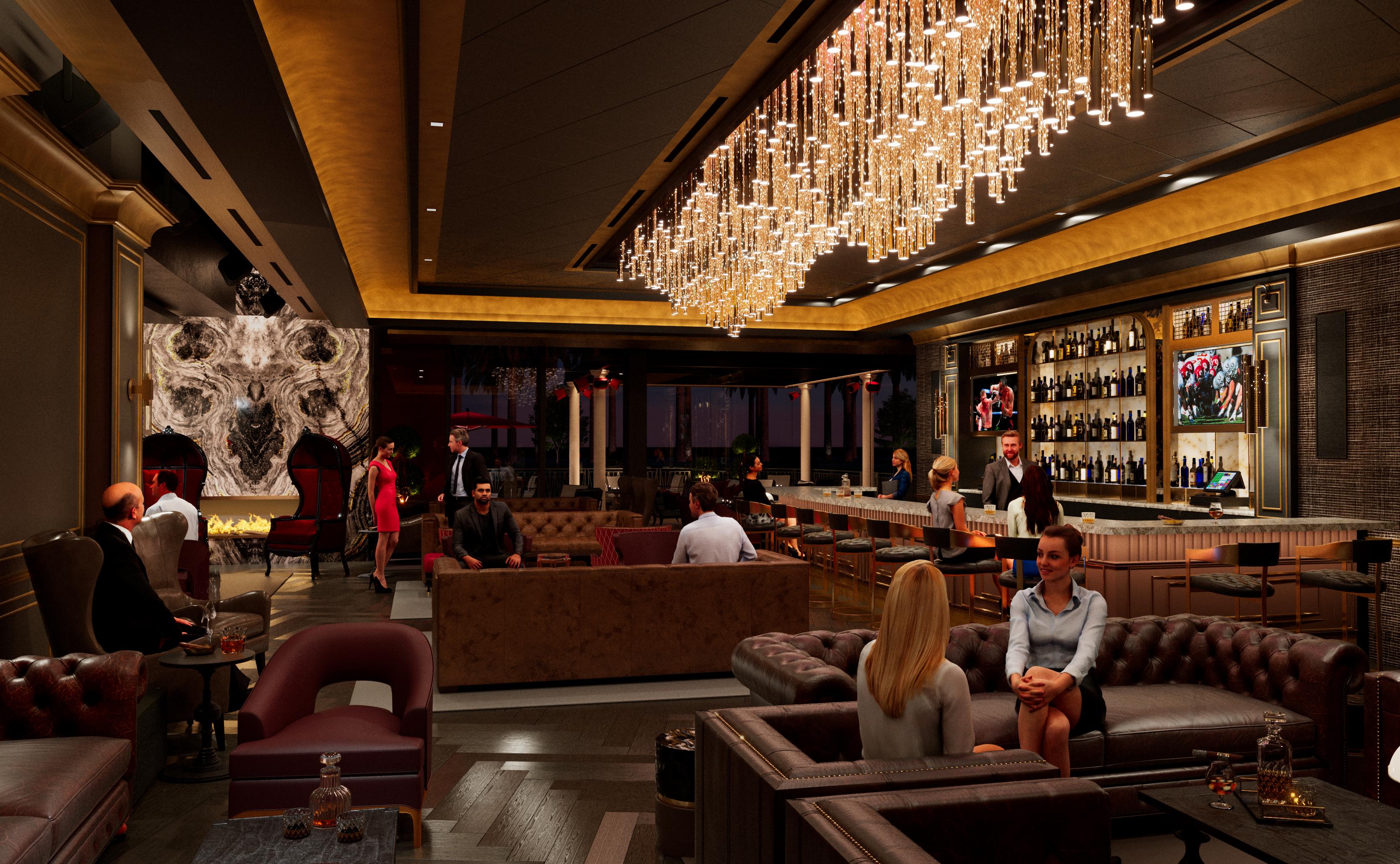 A rendering of a lounge inside a cigar bar