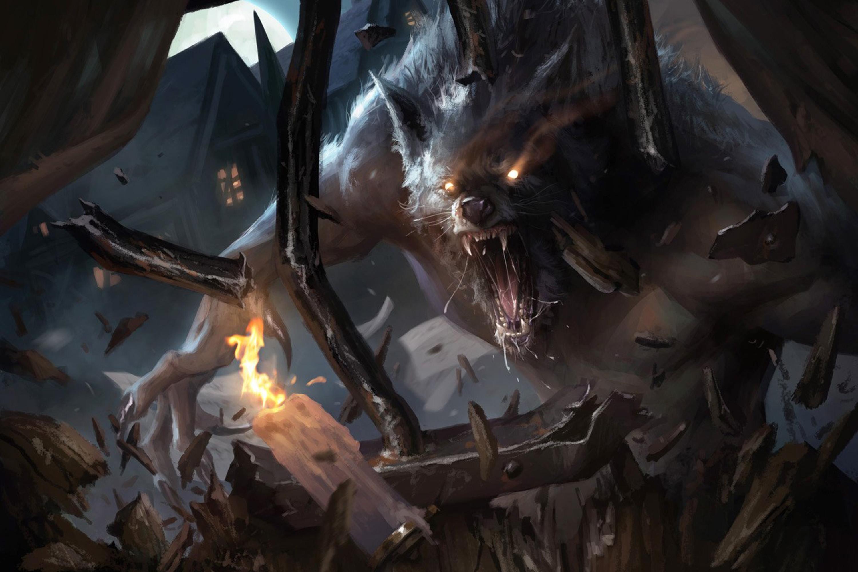 A werewolf bursts through an iron portcullis.