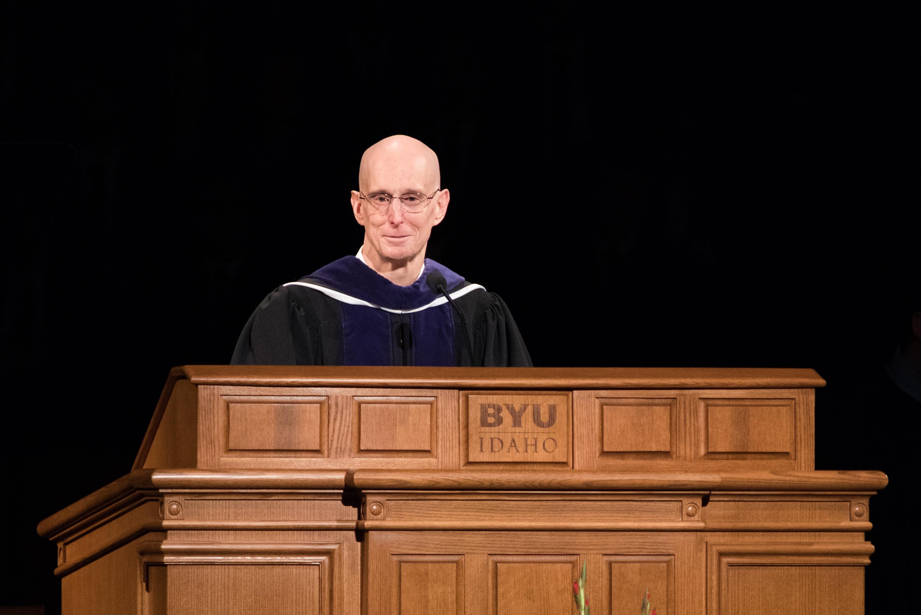 BYU-Idaho President Henry J. Eyring speaks during commencement exercises.