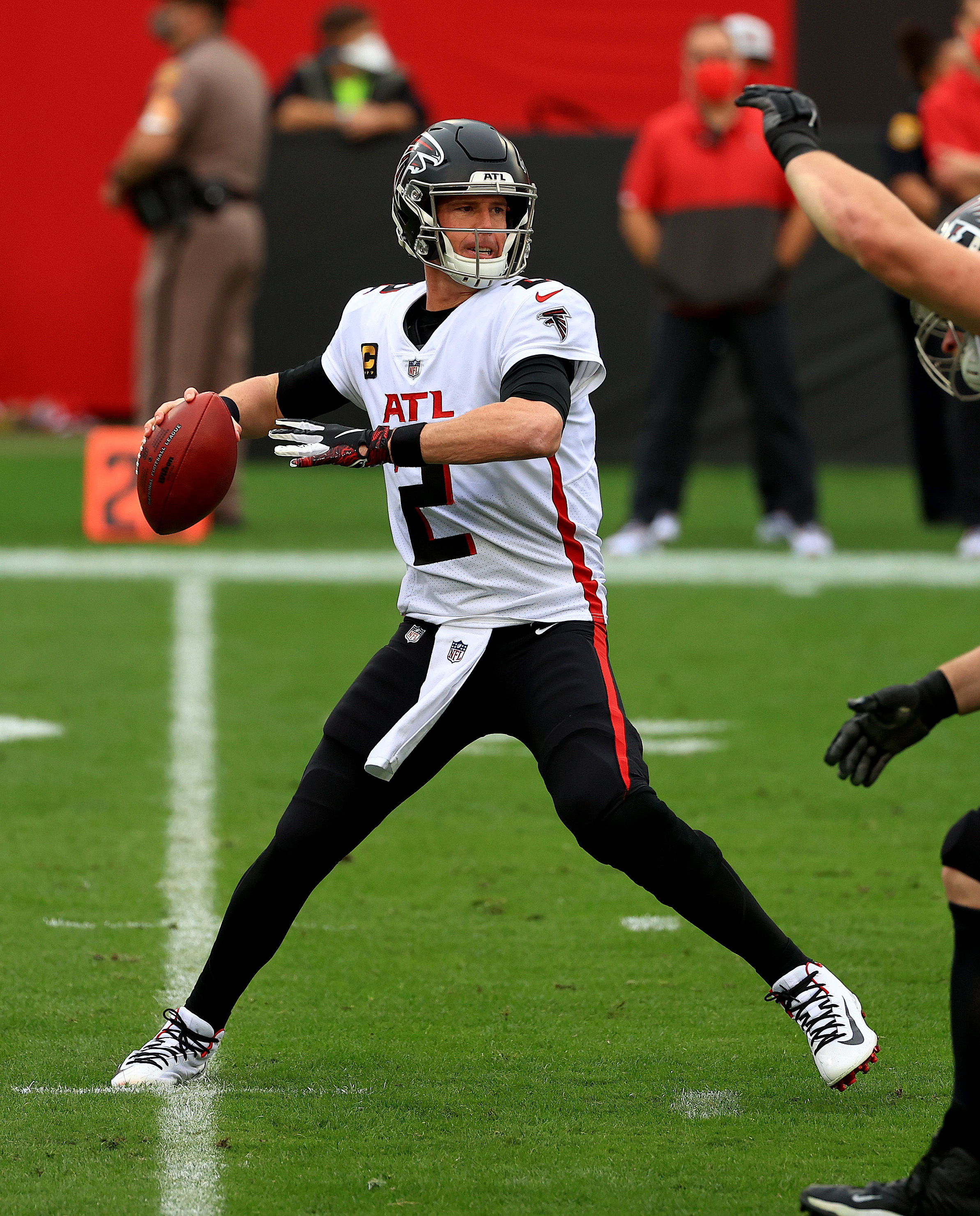 Matt Ryan #2 of the Atlanta Falcons looks to pass during a game against the Tampa Bay Buccaneers at Raymond James Stadium on January 03, 2021 in Tampa, Florida.