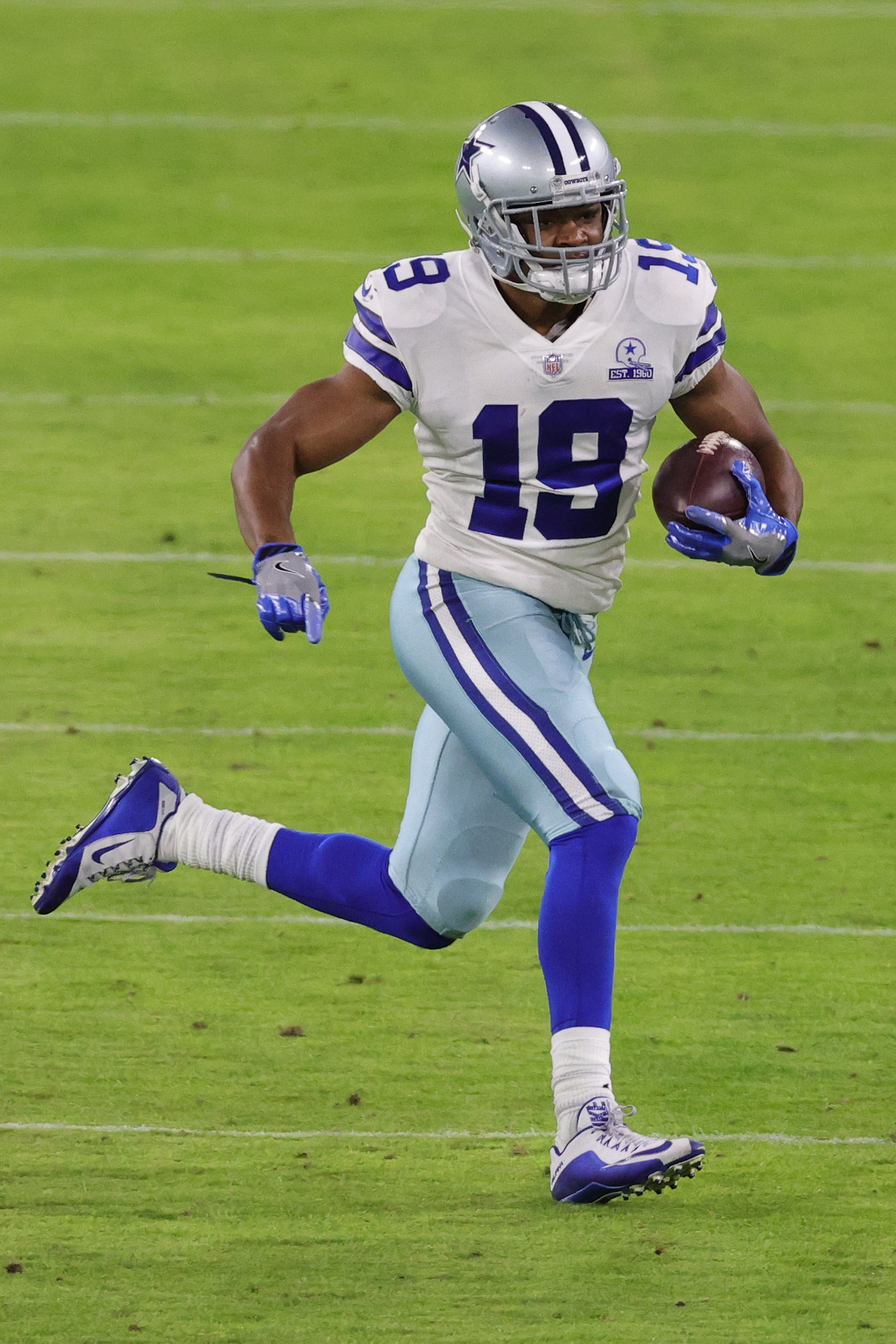 Wide receiver Amari Cooper #19 of the Dallas Cowboys rushes against the Baltimore Ravens during the second quarter at M&T Bank Stadium on December 8, 2020 in Baltimore, Maryland.