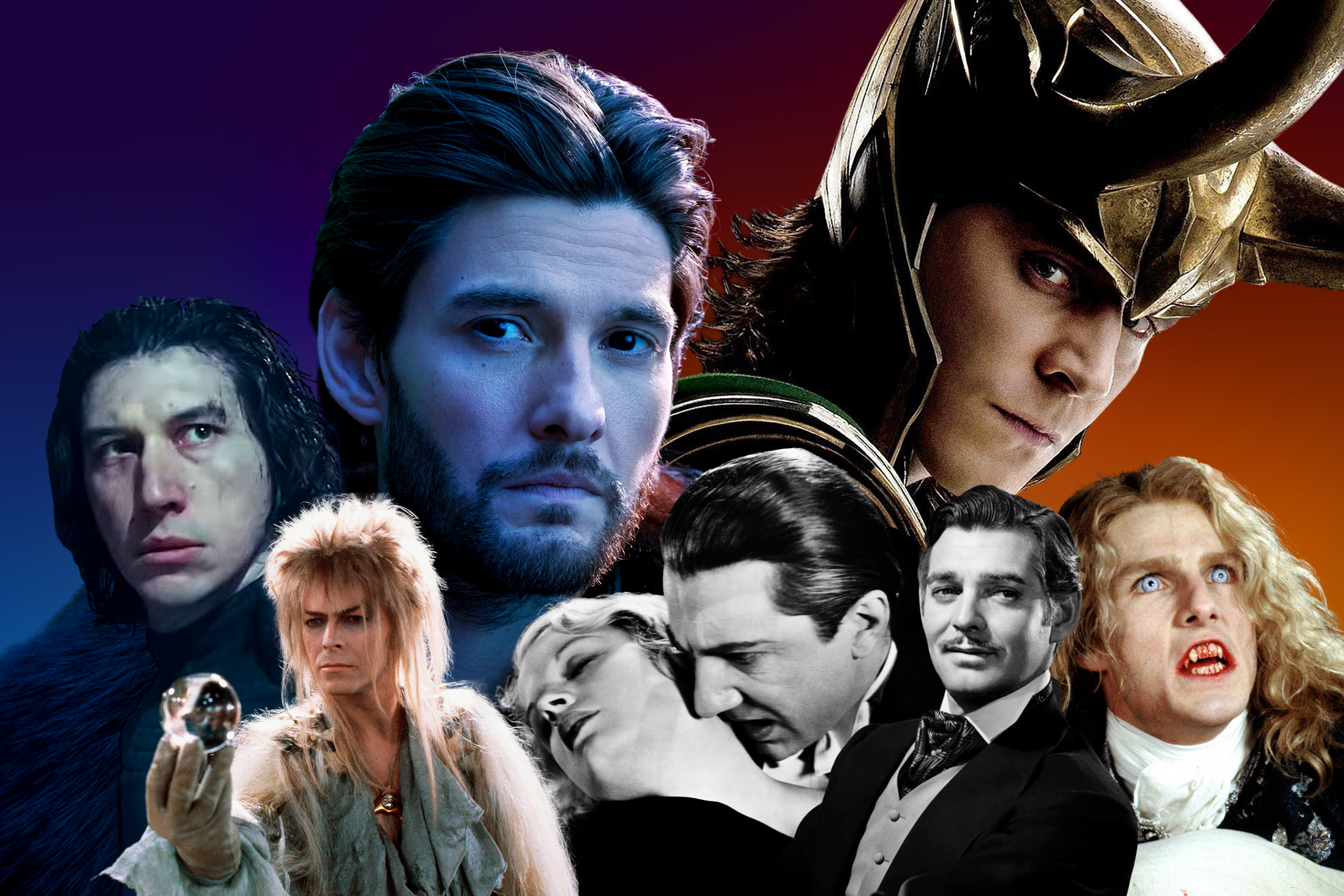 A visual collage of sexy villains that have caused controversy, including Kylo Ren from the Star Wars sequel trilogy, Jareth from Labyrinth, Tom Cruise as Lestat, Clark Cable as Rhett Butler, Tom Hiddleston as Loki, Bela Legosi as Dracula, and Ben Barnes as General Kirigin in Shadow and Bone